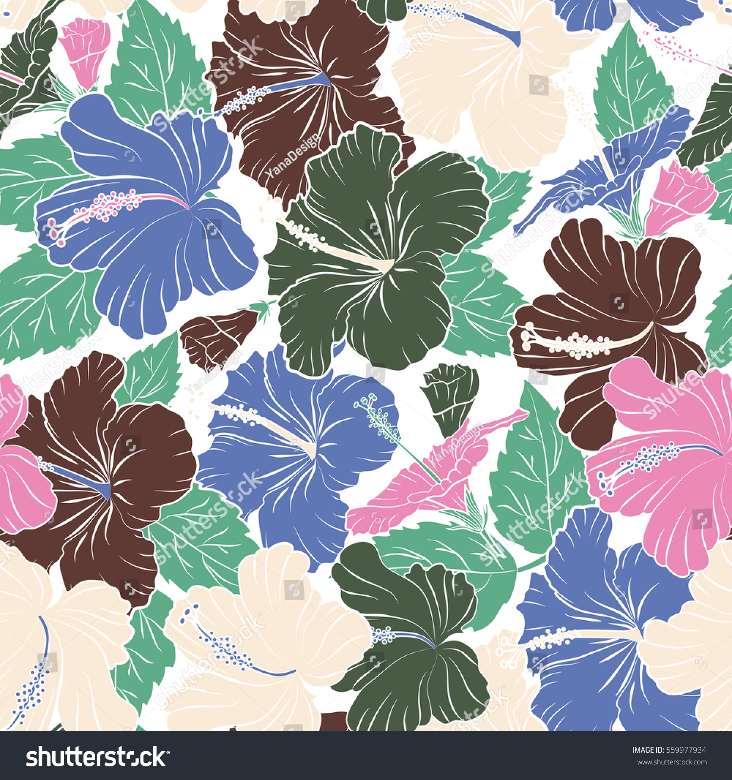 Floral Seamless Pattern Hibiscus Flowers Design Stock Illustration