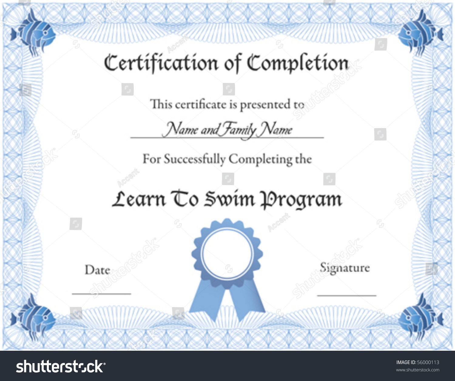 Vector certificate completion template stock vector 56000113 vector certificate of completion template xflitez Gallery