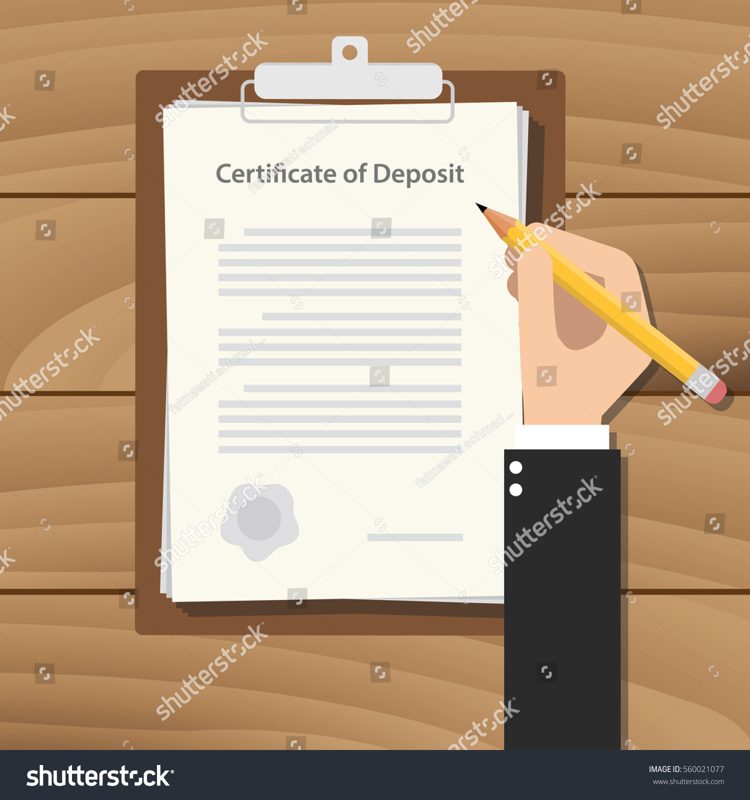 Certificate deposit illustration concept hand business stock certificate of deposit illustration concept with hand business man signing a paperwork document on top of 1betcityfo Images