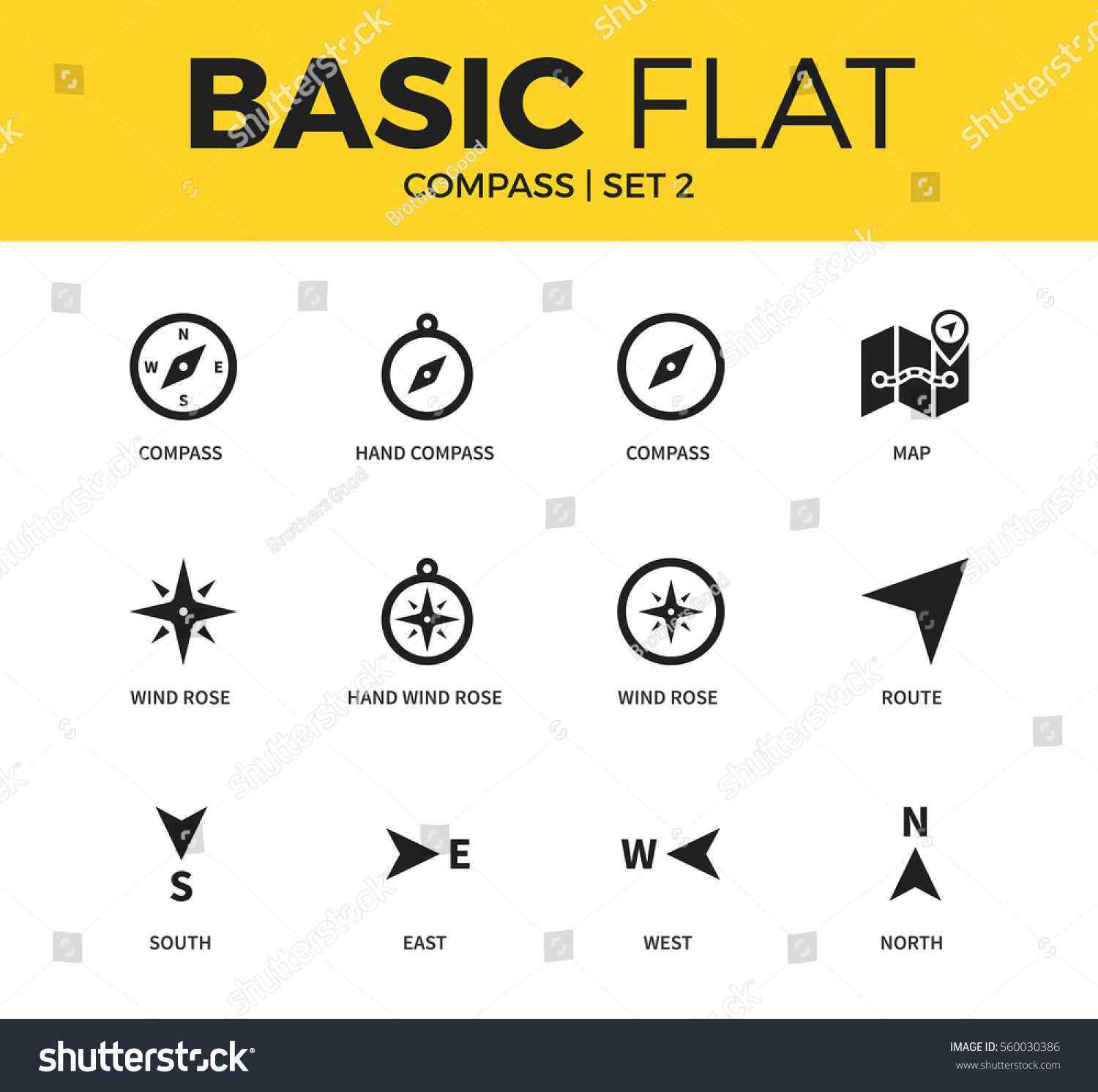 Basic set wind rose form hand stock vector 560030386 shutterstock basic set of wind rose form hand wind rose and map icons modern flat biocorpaavc Images