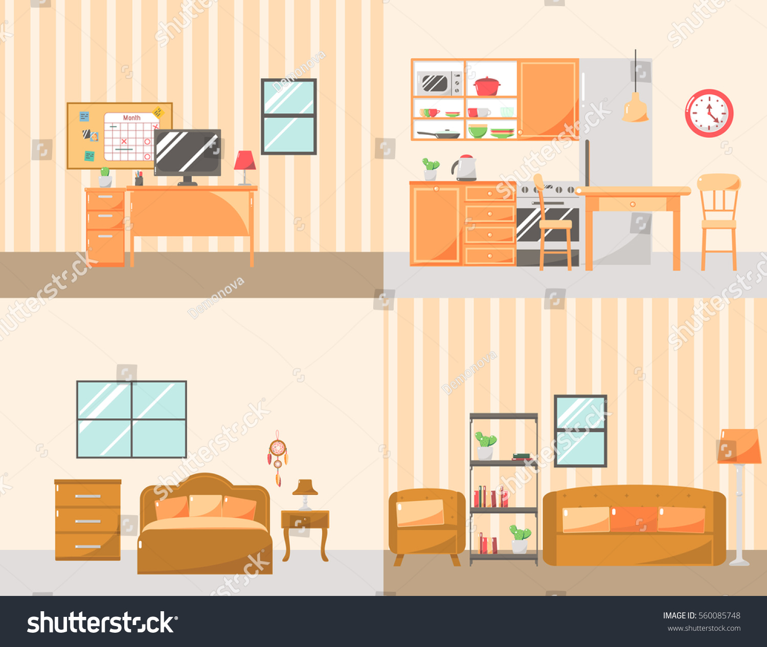 Set Colorful Room Interiors Furniture Icons Stock Vector