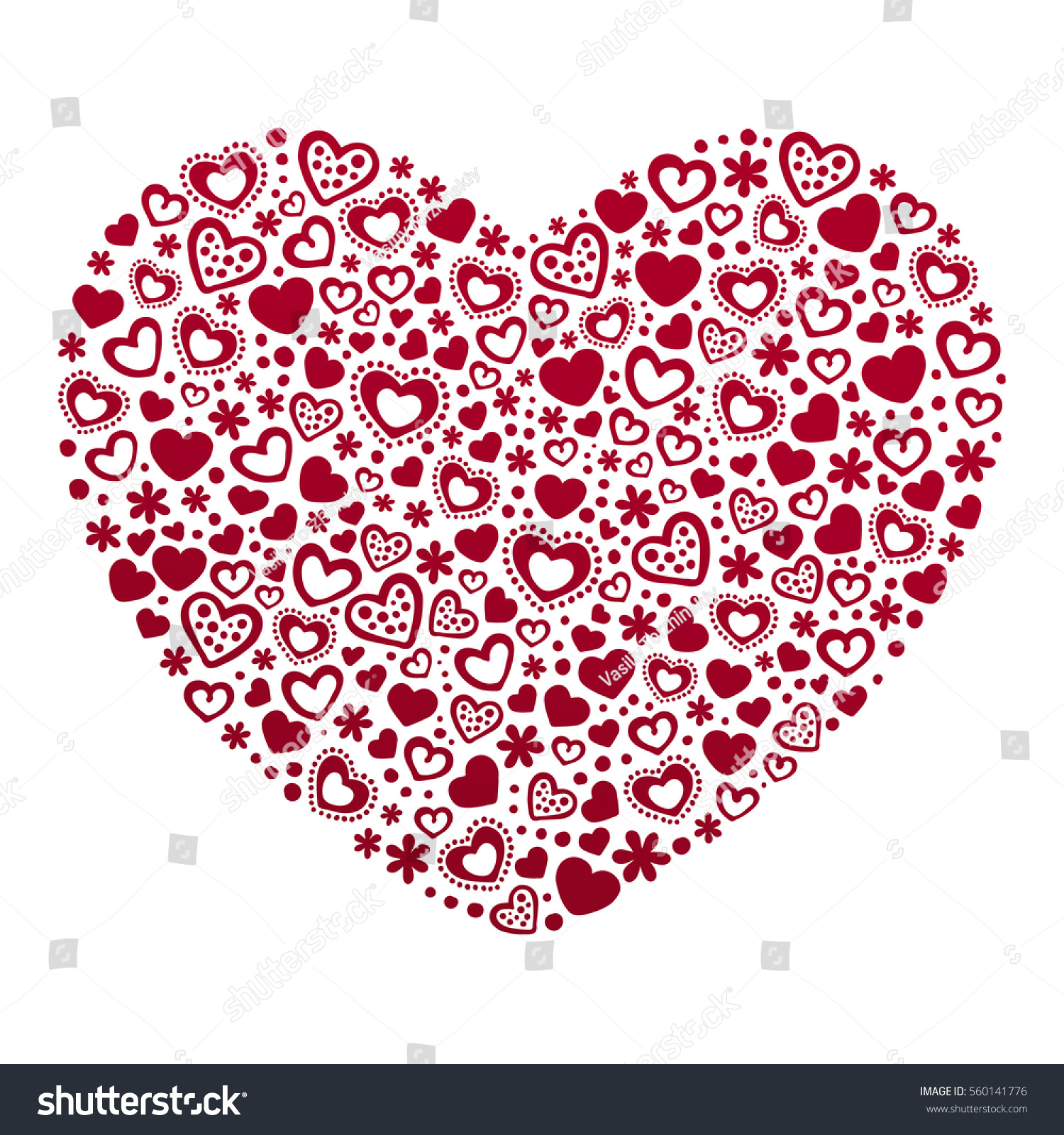 Valentines Day Card Template Hearts Card Stock Vector HD (Royalty ...