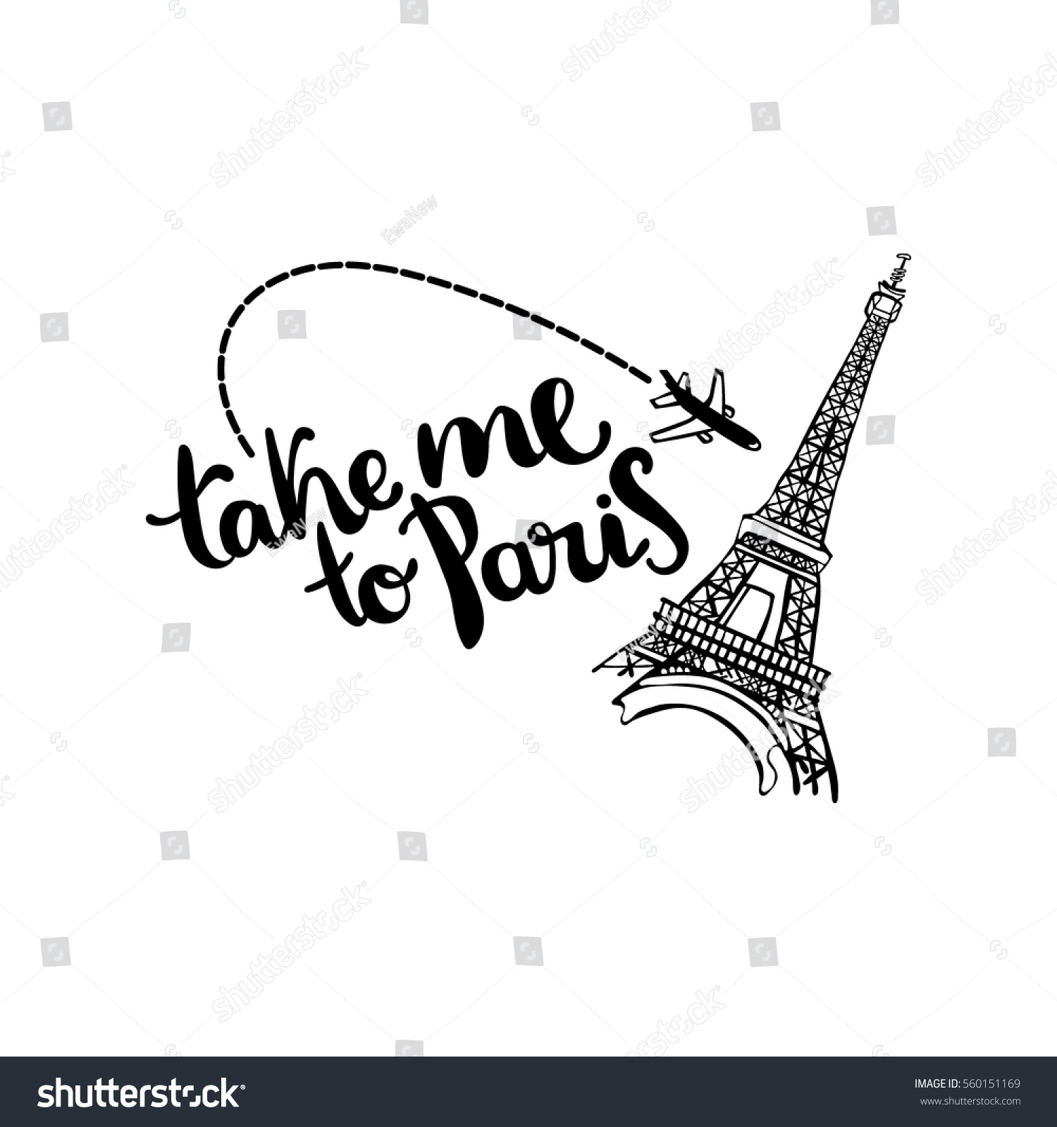 take me paris lettering eiffel tower stock vector royalty free