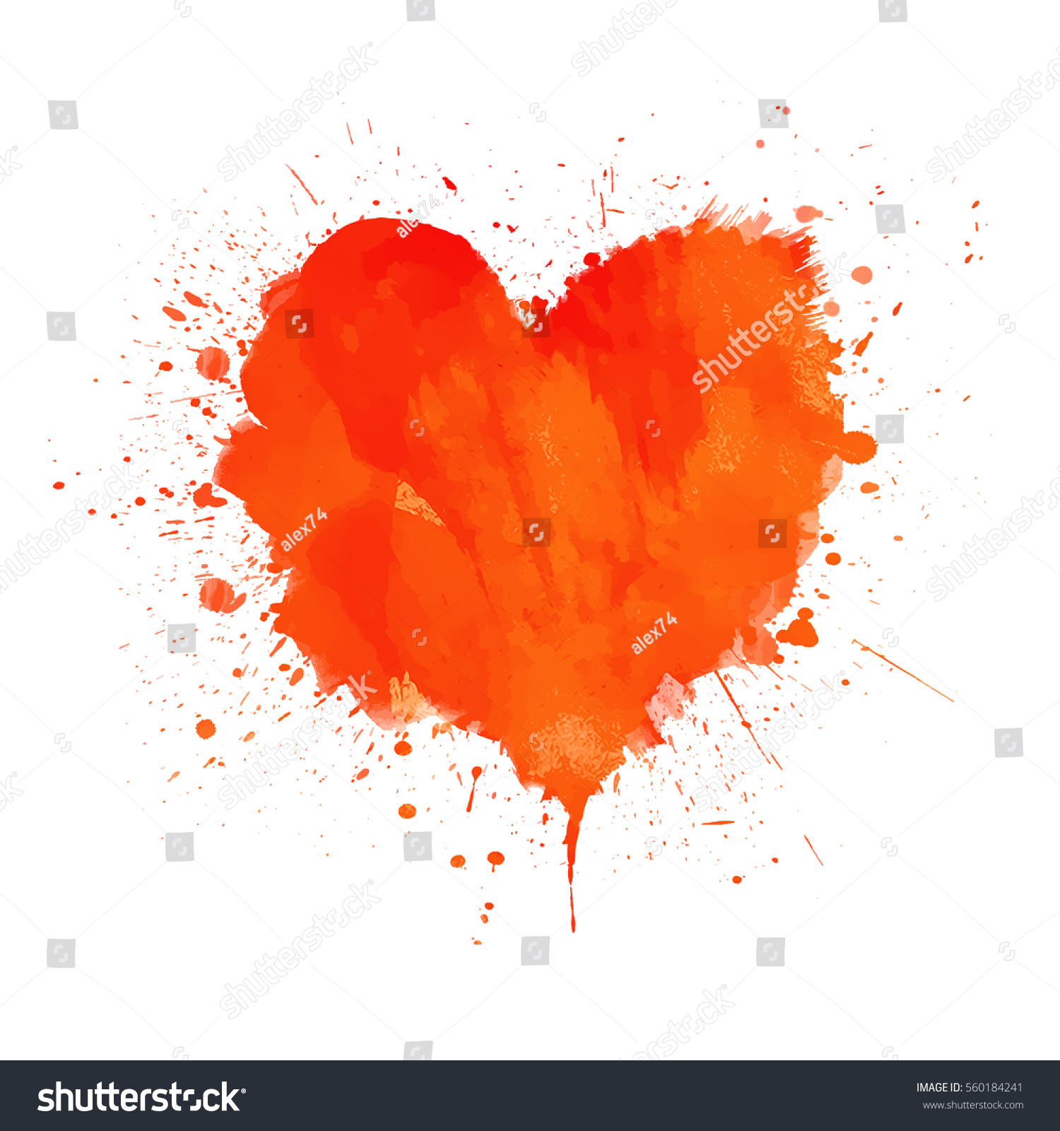 Watercolor Painted Vector Red Heart Shape Stock Vector Royalty Free