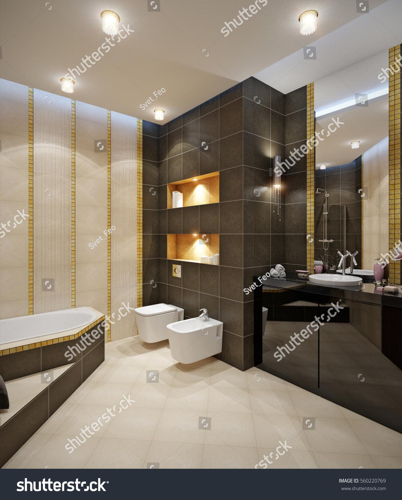 Bathroom Beige Tile Floor Beige Brown Stock Illustration