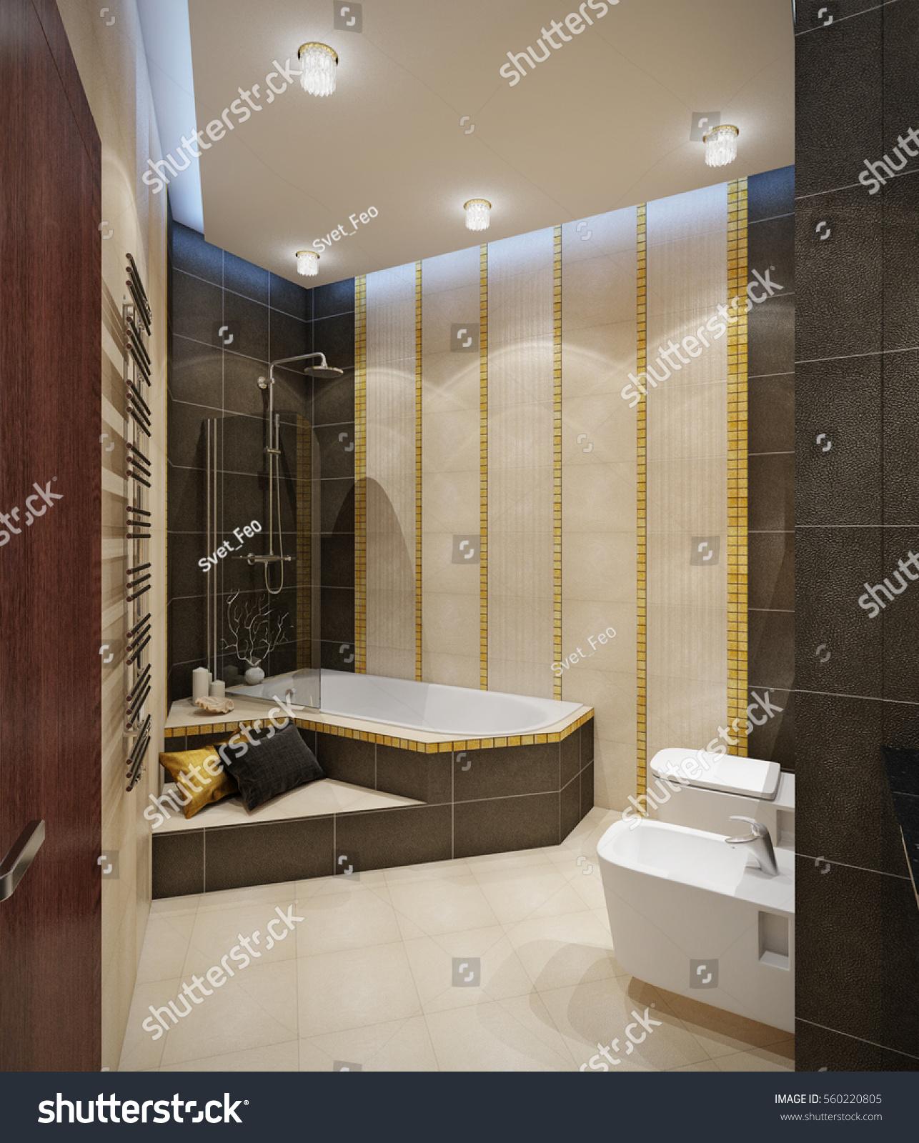 Bathroom Beige Tile Floor Beige Brown Stock Illustration 560220805