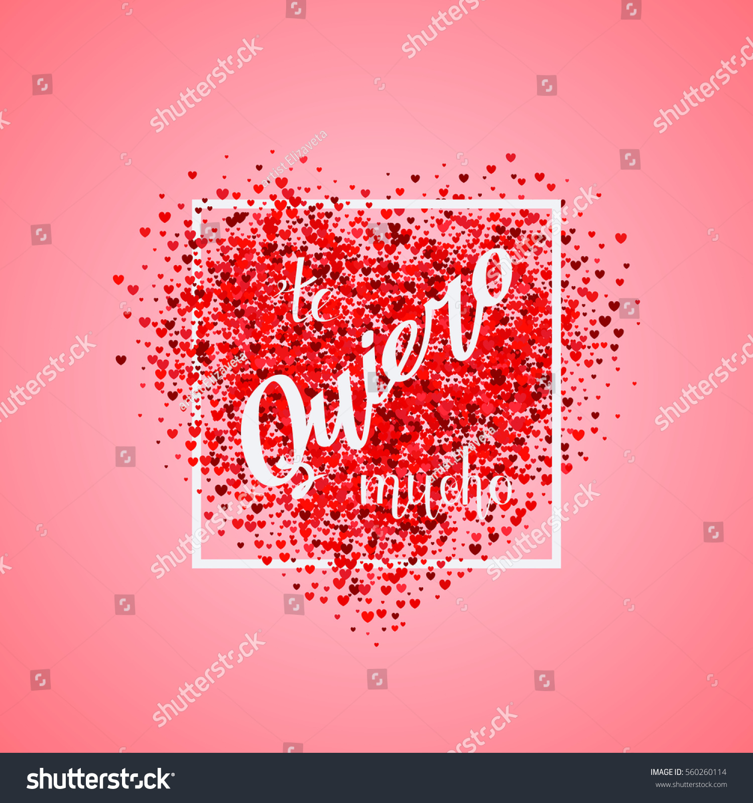 Valentines Day Card Confetti Red Heart Stock Vector (Royalty Free ...