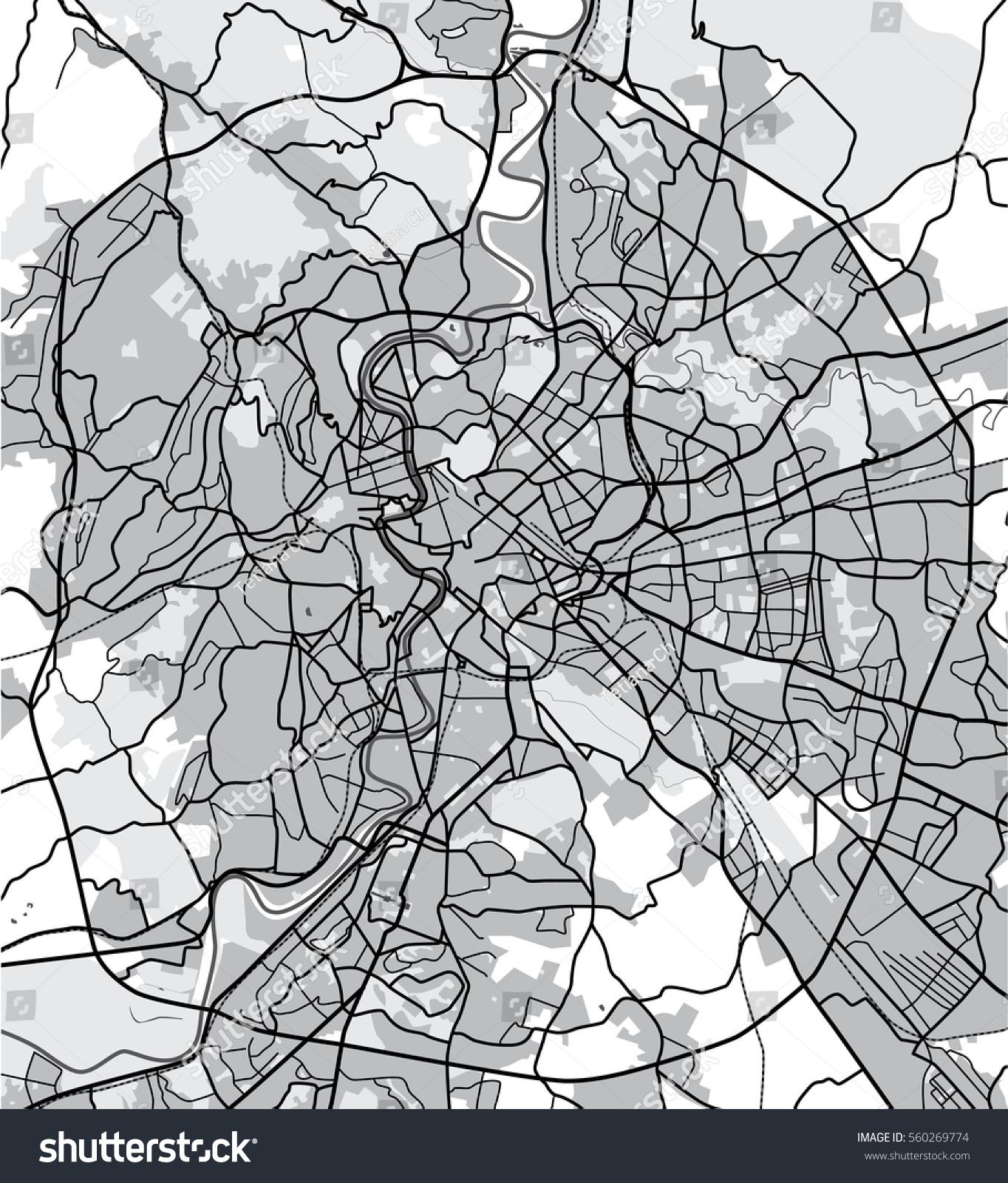 Black White Map Rome Italy City Stock Illustration 560269774