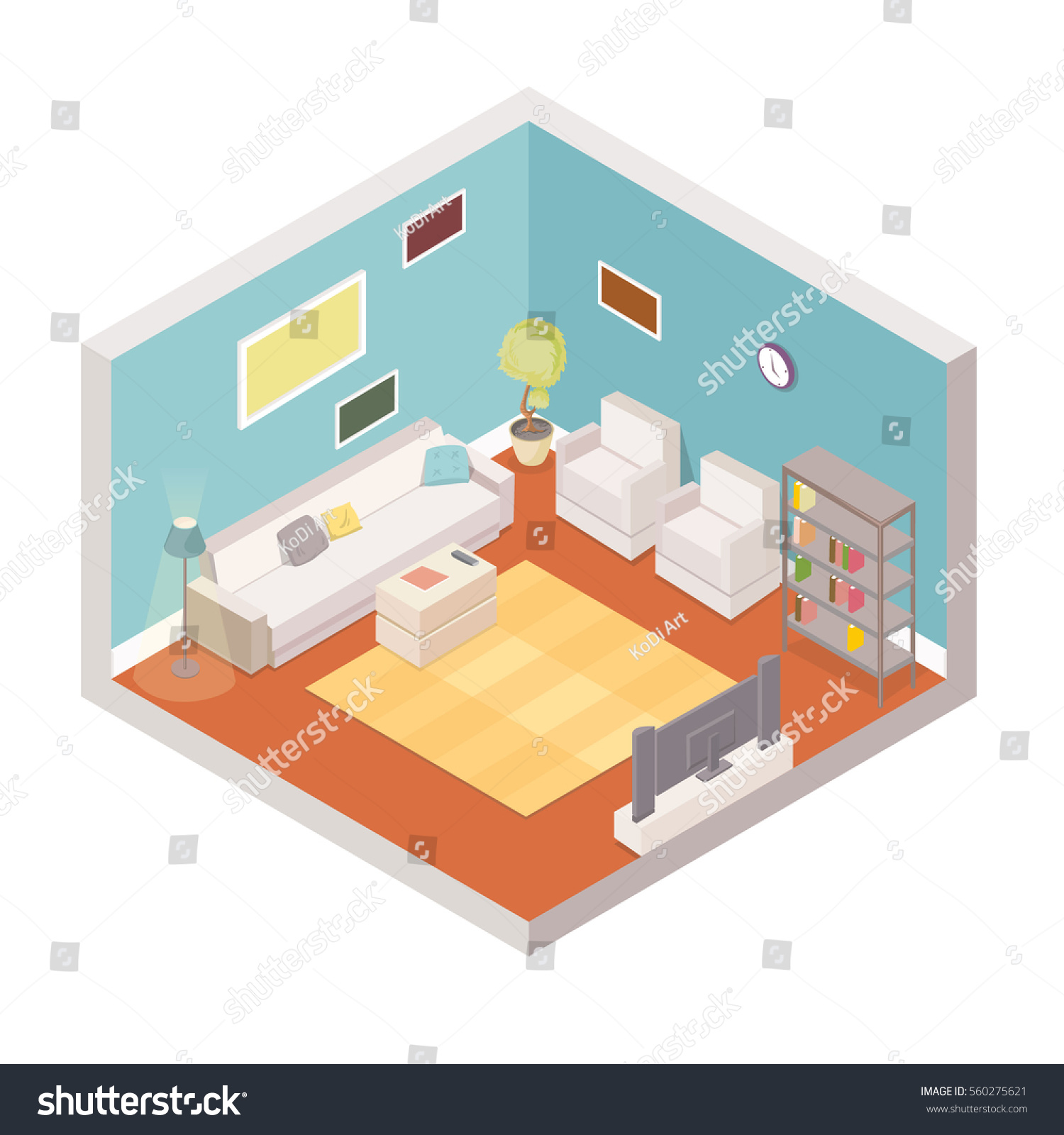 Vector Living Room Isometric Interior Cartoon Stock Vector