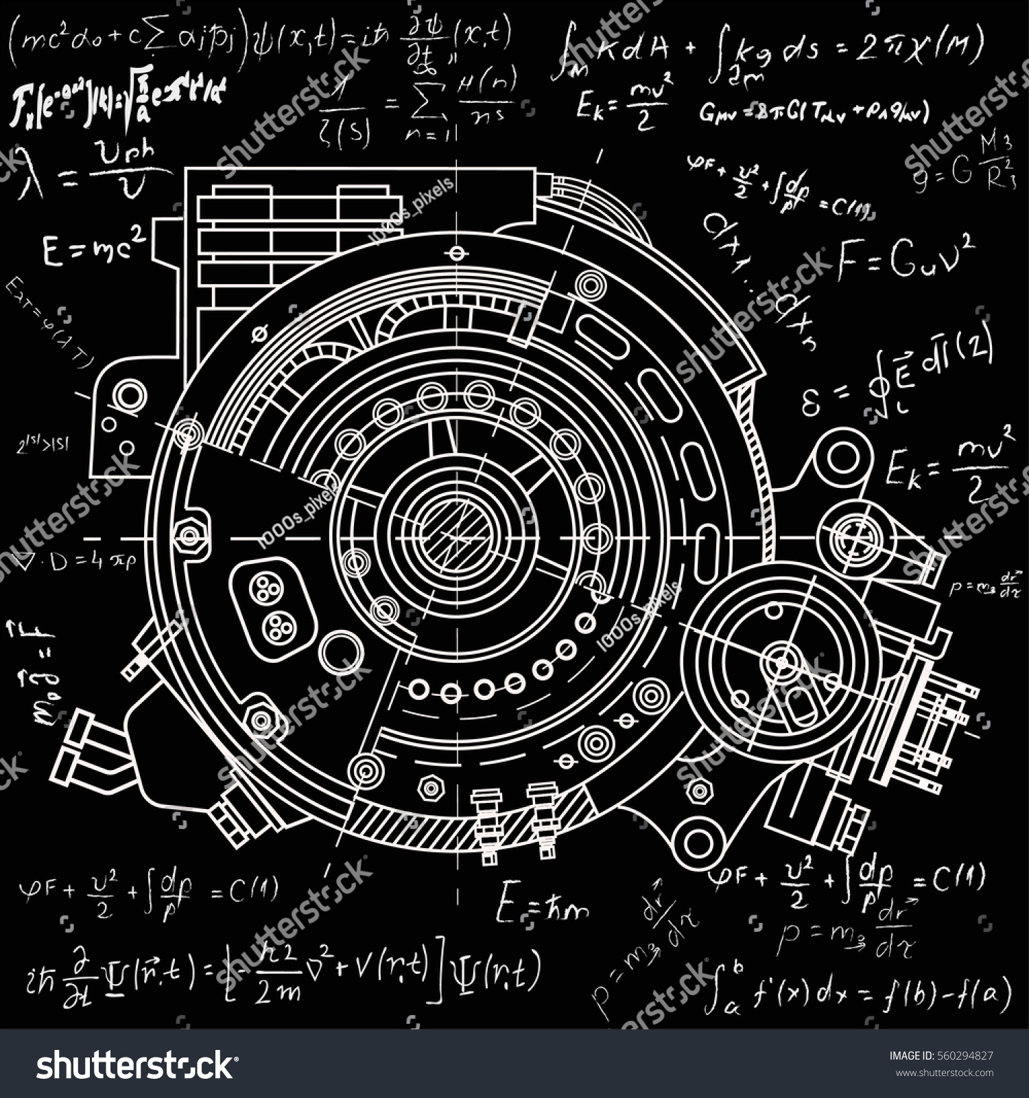 Drawing Electric Motor Section Representing Internal Stock Vector ...