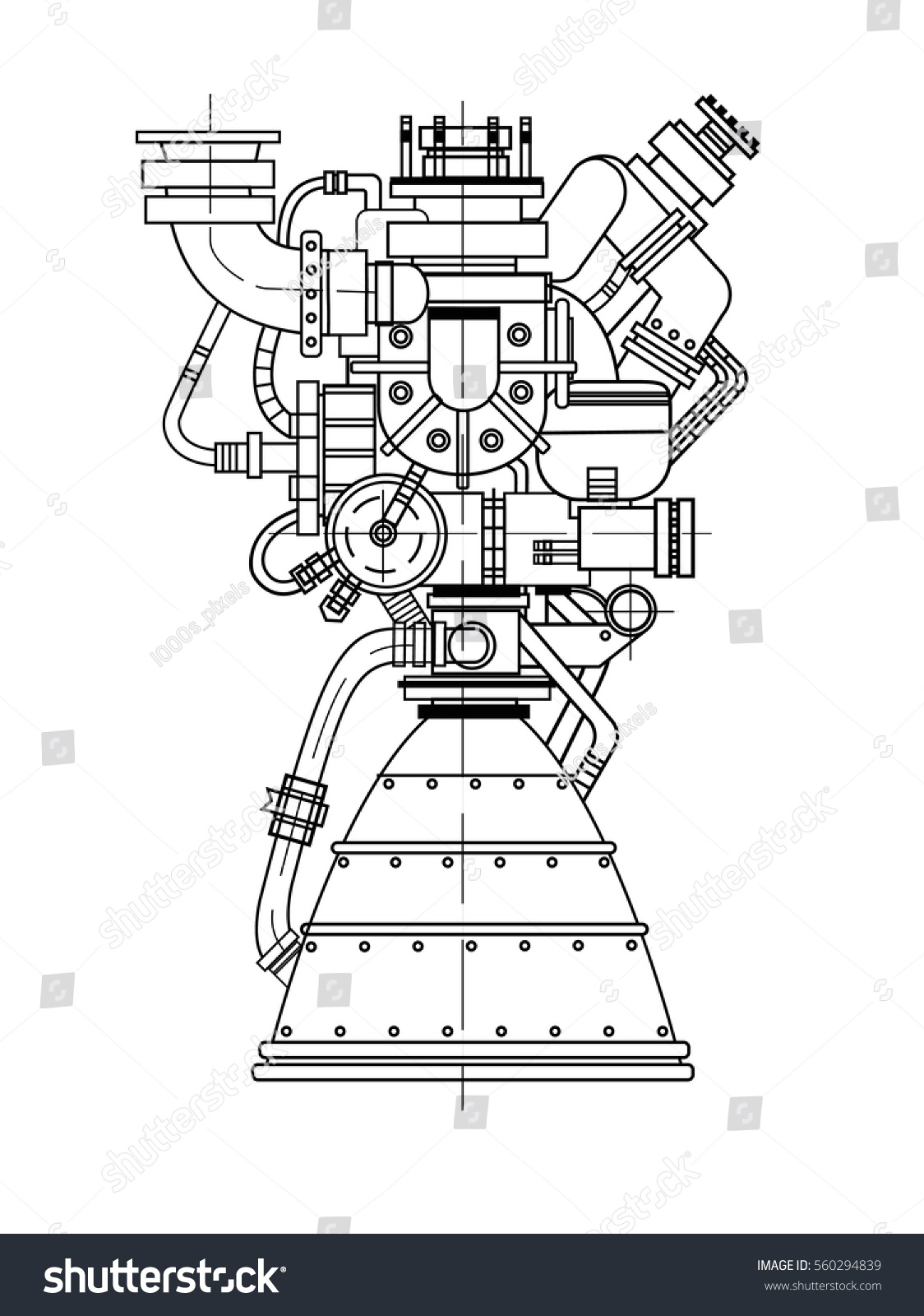 Rocket Engine Drawing On Black Background Stock Vector Royalty Free Diagram Of A Model Isolated It Can Be Used As An Illustration For