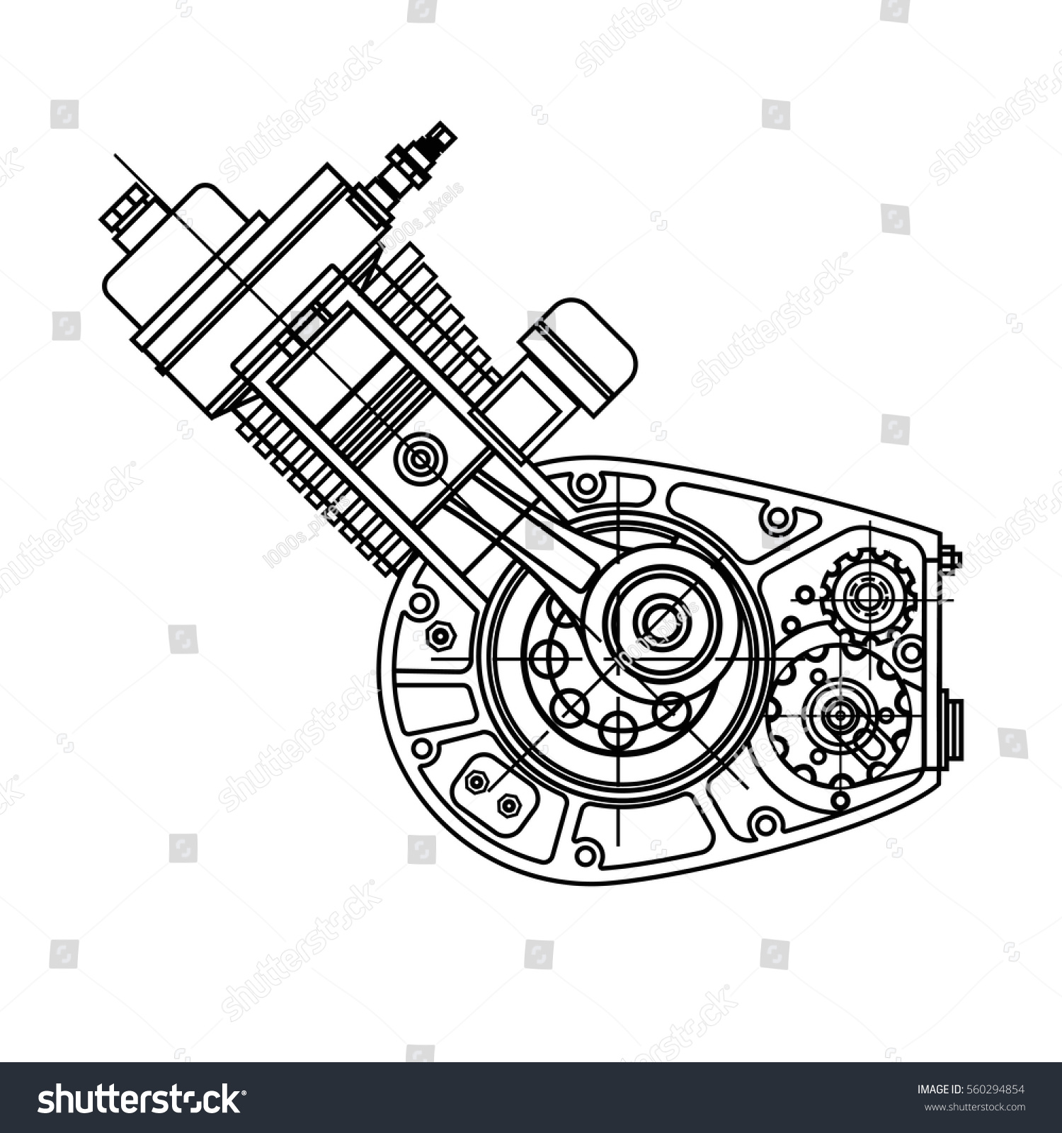 drawing internal bustion motocycle engine isolated stock vector Component Parts of Internal Combustion Engines drawing an internal bustion motocycle engine isolated in black background it can be used as
