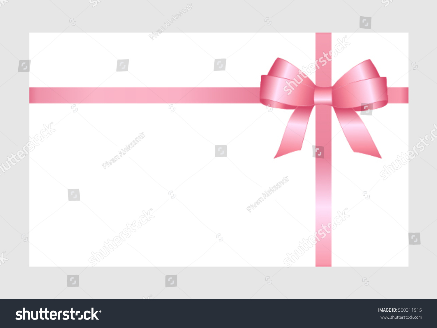 Gift Card Pink Ribbon Bow On Stock Vector Royalty Free 560311915