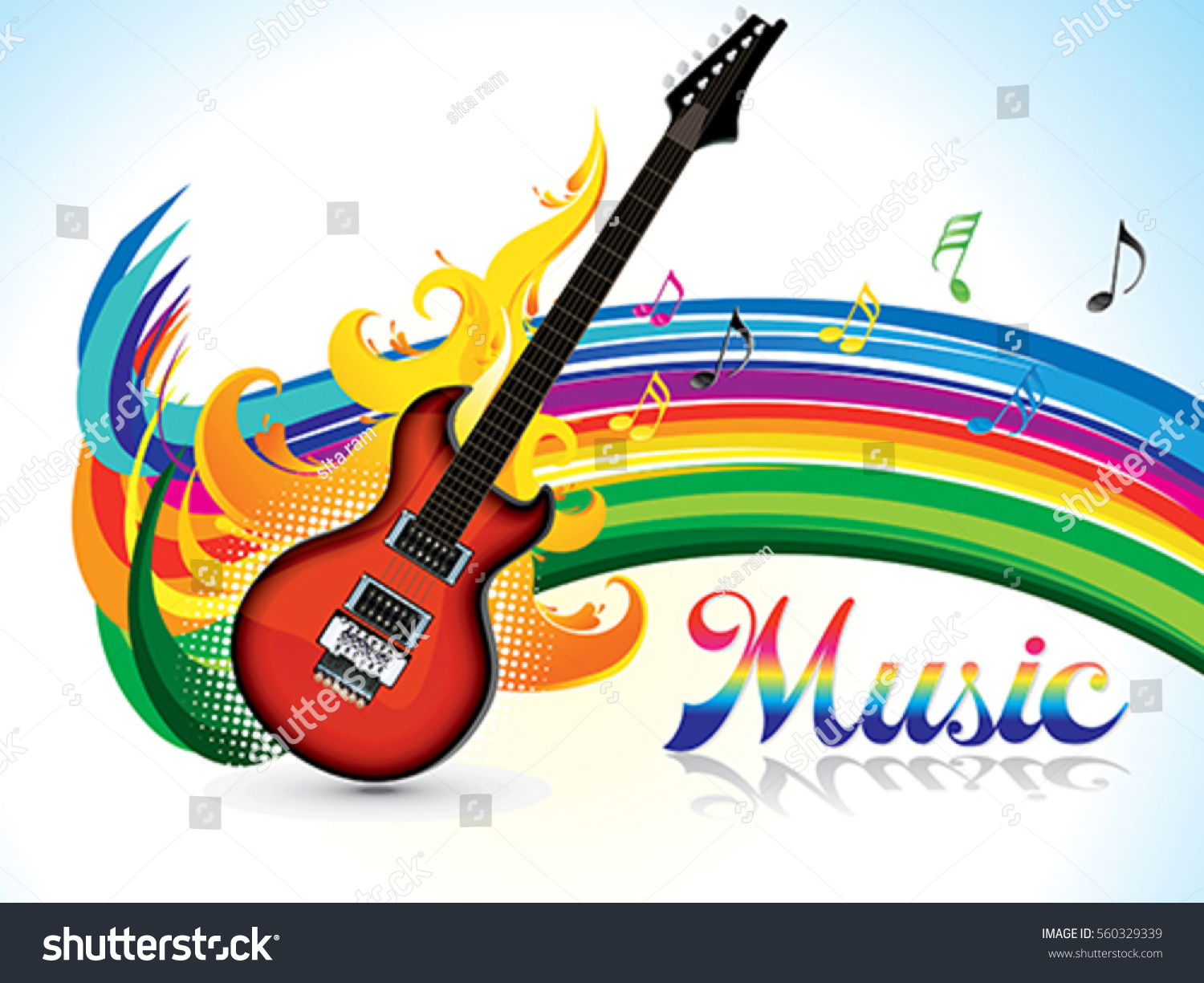 Abstract Artistic Colorful Music Background Vector Stock Vector