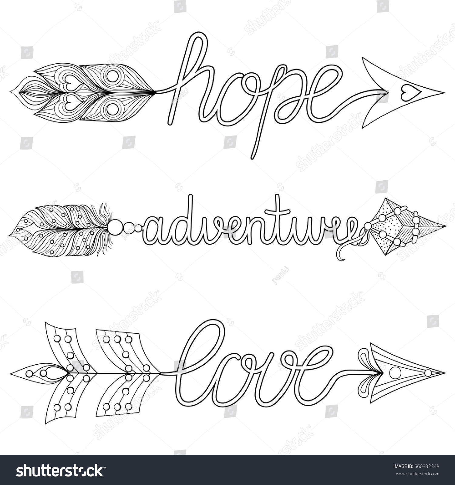 Bohemian Arrows Hand Painted Signs Boho Stock Vector Royalty Free