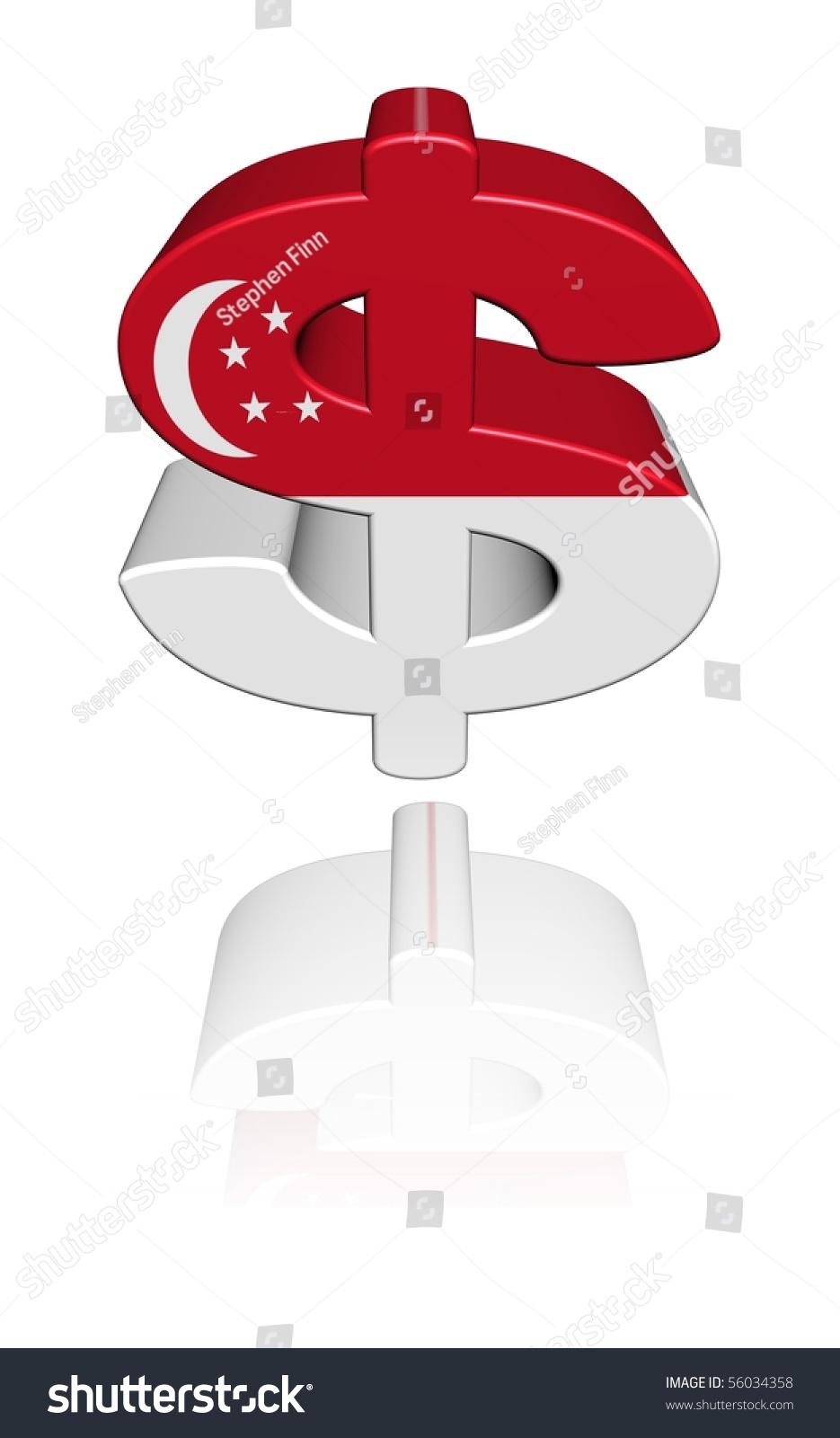 Singapore Dollar Symbol Flag Reflected On Stock Illustration