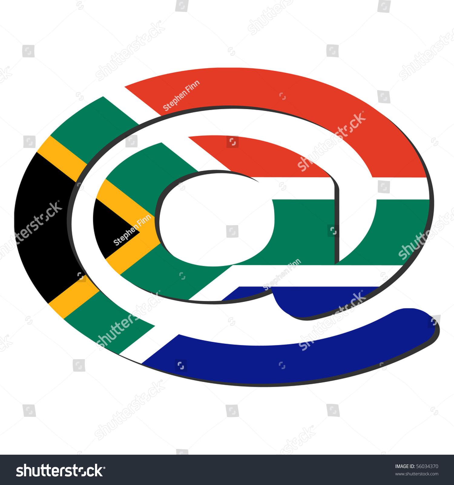 Email Address Symbol South African Flag Stock Illustration 56034370