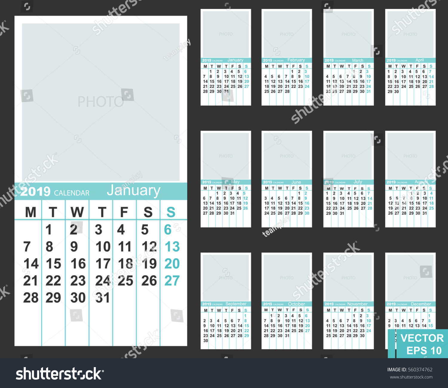Calendar New Year 2019 Date Your Stock Photo (Photo, Vector ...