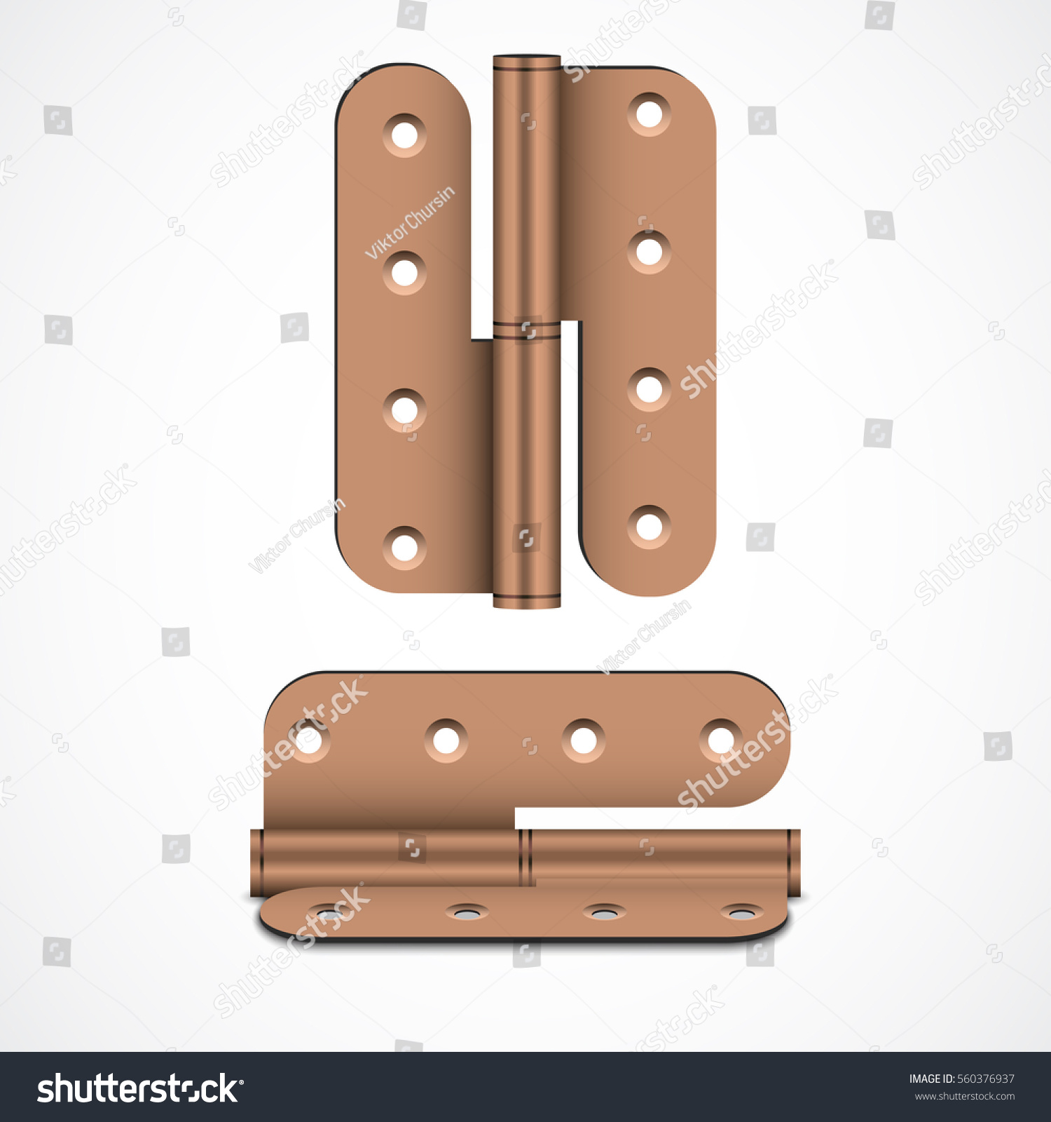Bronze Door Hinges. Ironmongery. Construction And Finishing Materials.  Vector Illustration On White Background