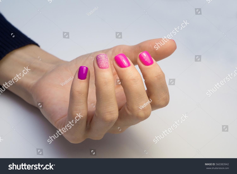 Amazing Manicure Natural Nails Gel Polish Stock Photo 560383942 ...