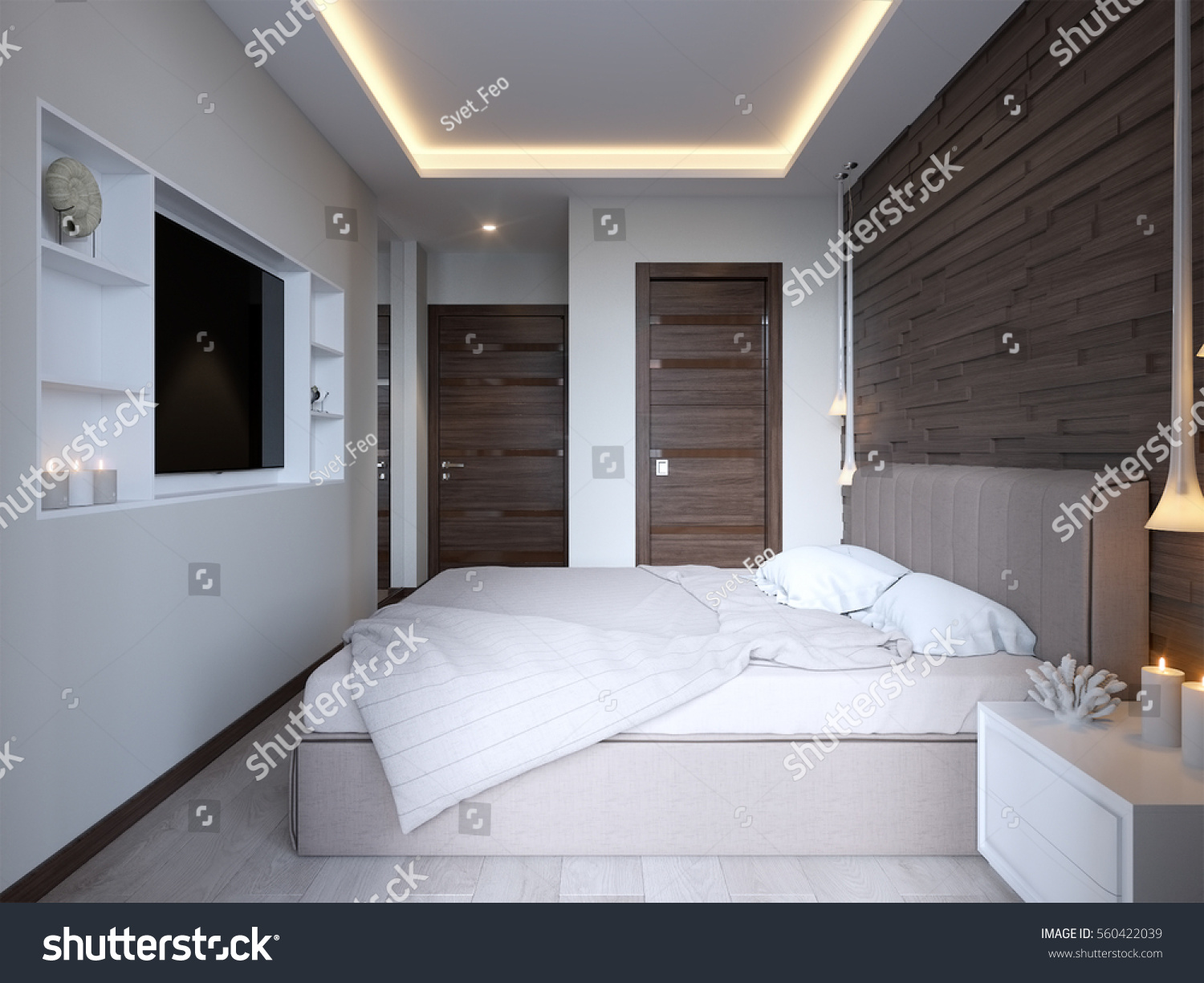 Modern bedroom with wooden 3D panels on the wall  LED Backlight on ceiling   3d. Modern Bedroom Wooden 3d Panels On Stock Illustration 560422039