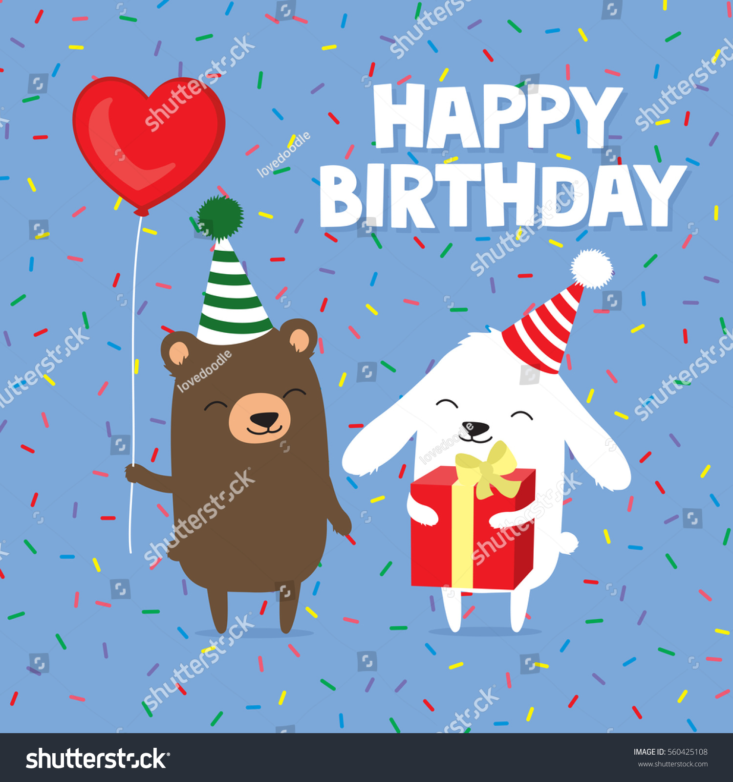 Birthday Greeting Card Cute Cartoon Bear Stock Illustration