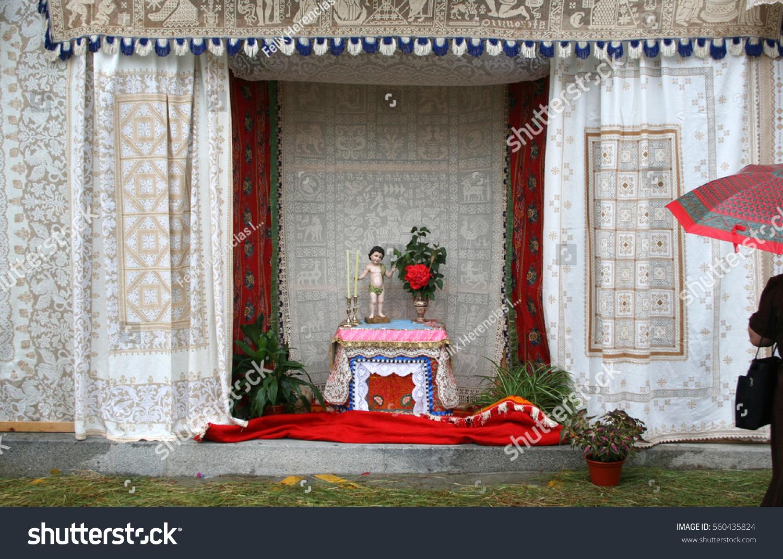 Altar Corpus Christi Embroidery Lagartera Toledo Stock Photo Edit