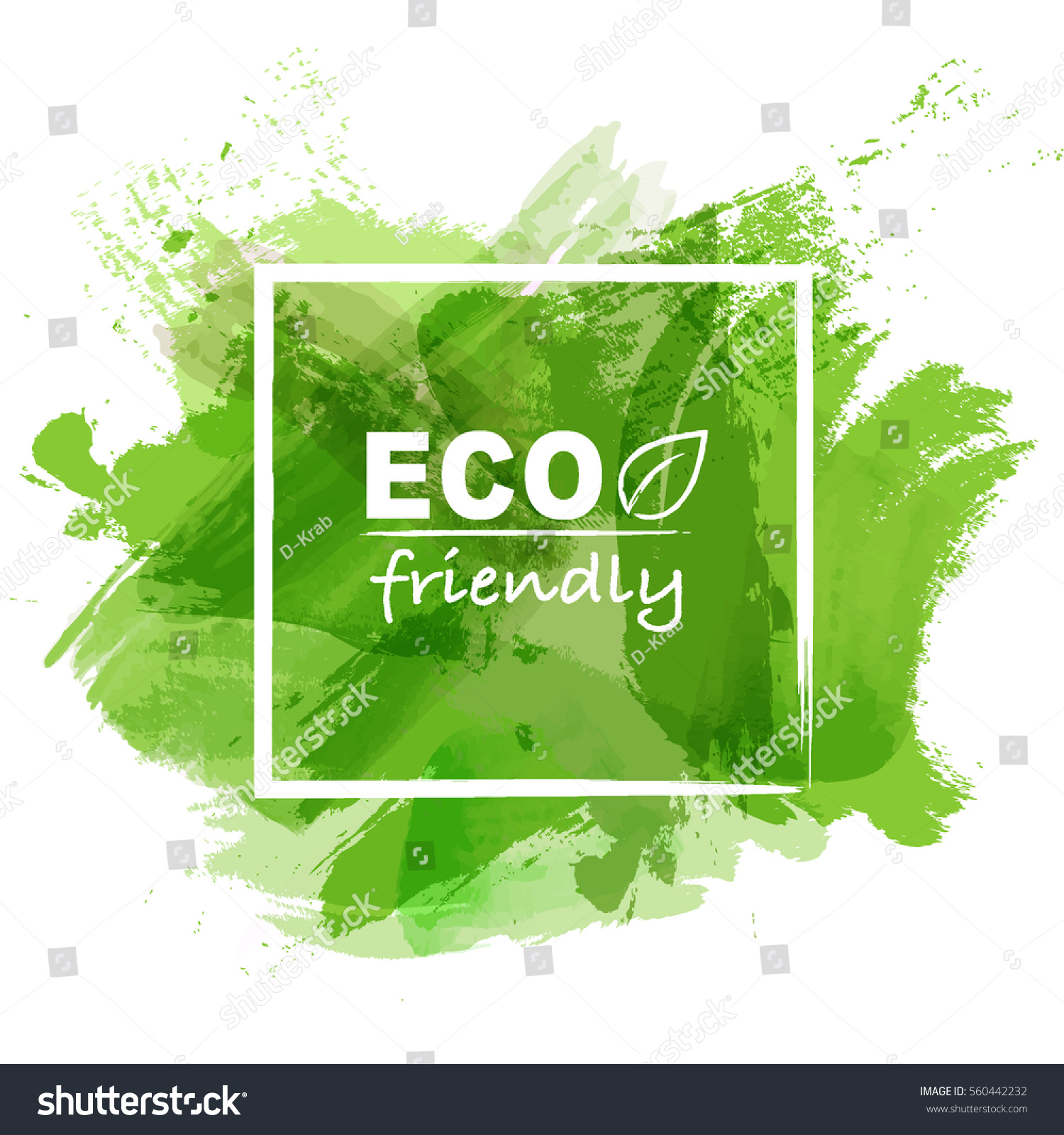 eco friendly concept green watercolor paint stock vector. Black Bedroom Furniture Sets. Home Design Ideas