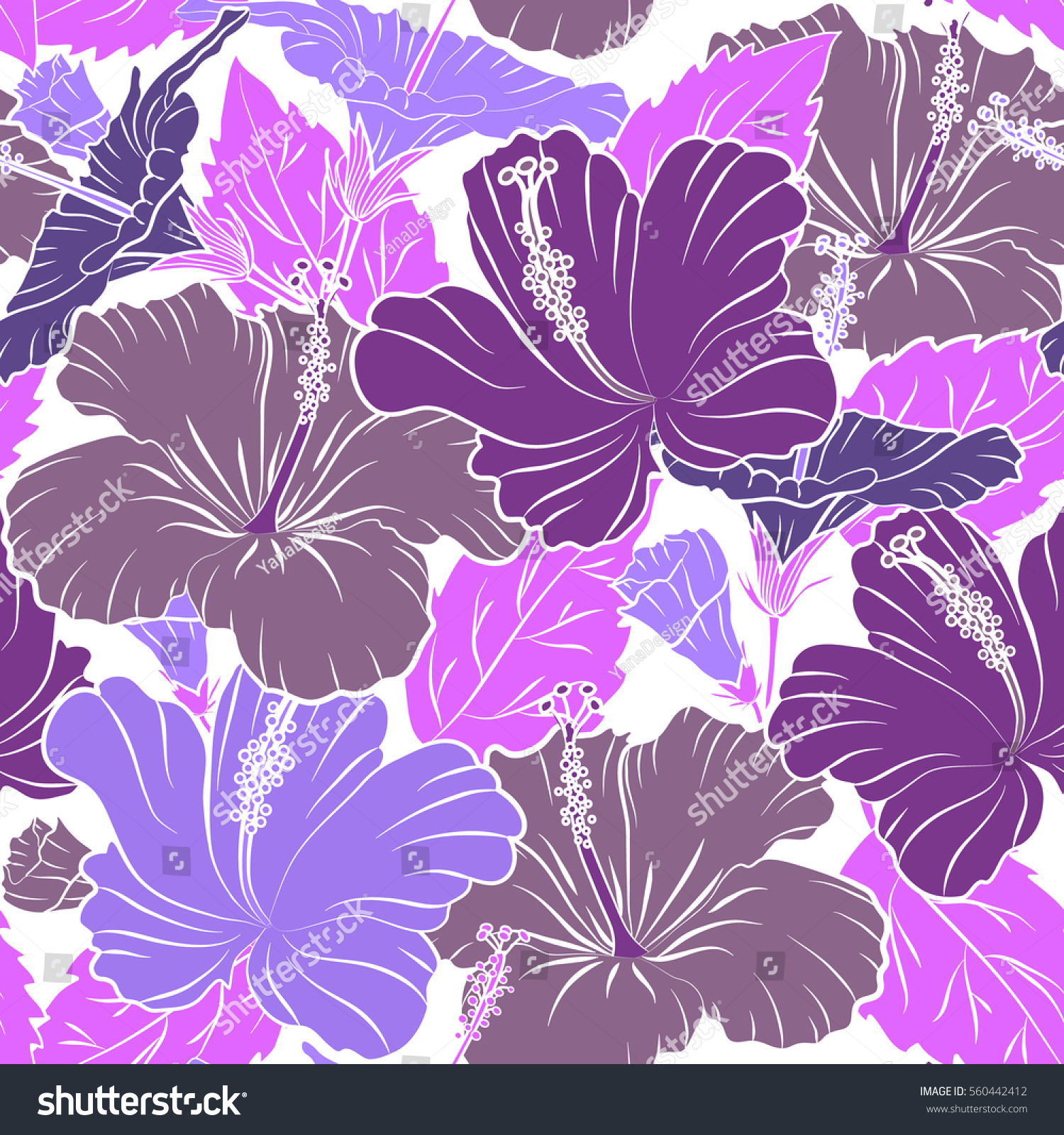 Vector Floral Seamless Pattern Various Hibiscus Hawaiian Tropical
