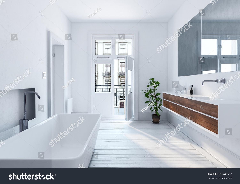 Modern Spacious White Urban Bathroom Interior Stock Illustration 560445532