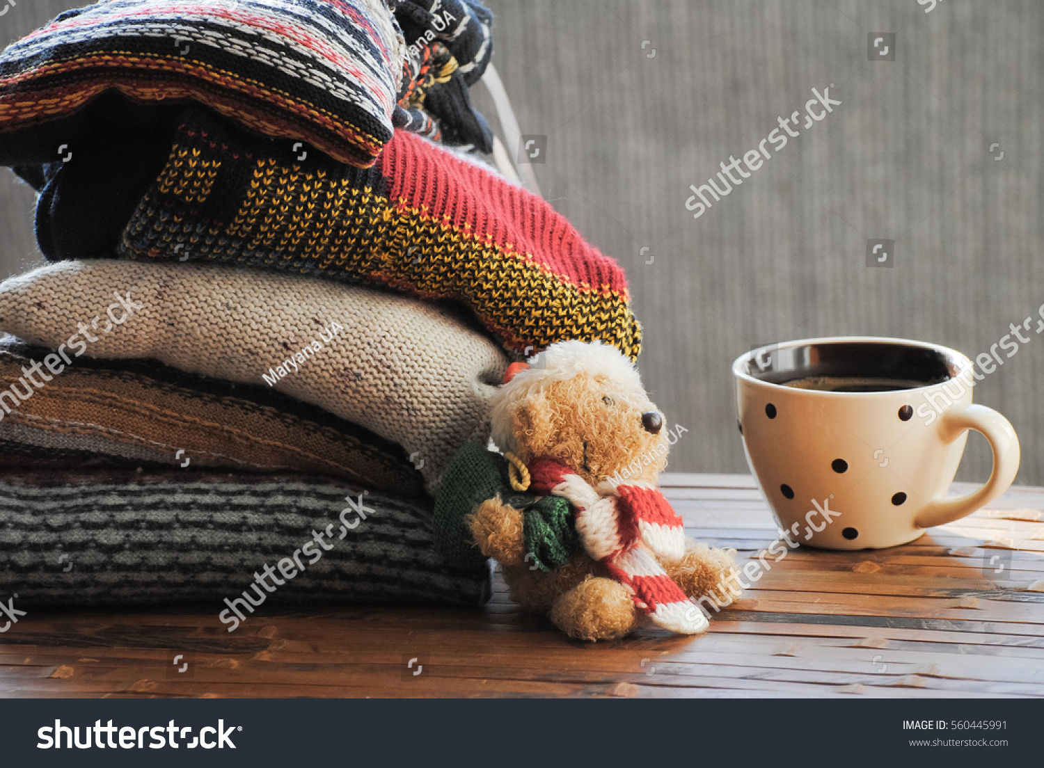 Warm Knitted Sweatera Cup Coffee Toy Stock Photo Edit Now