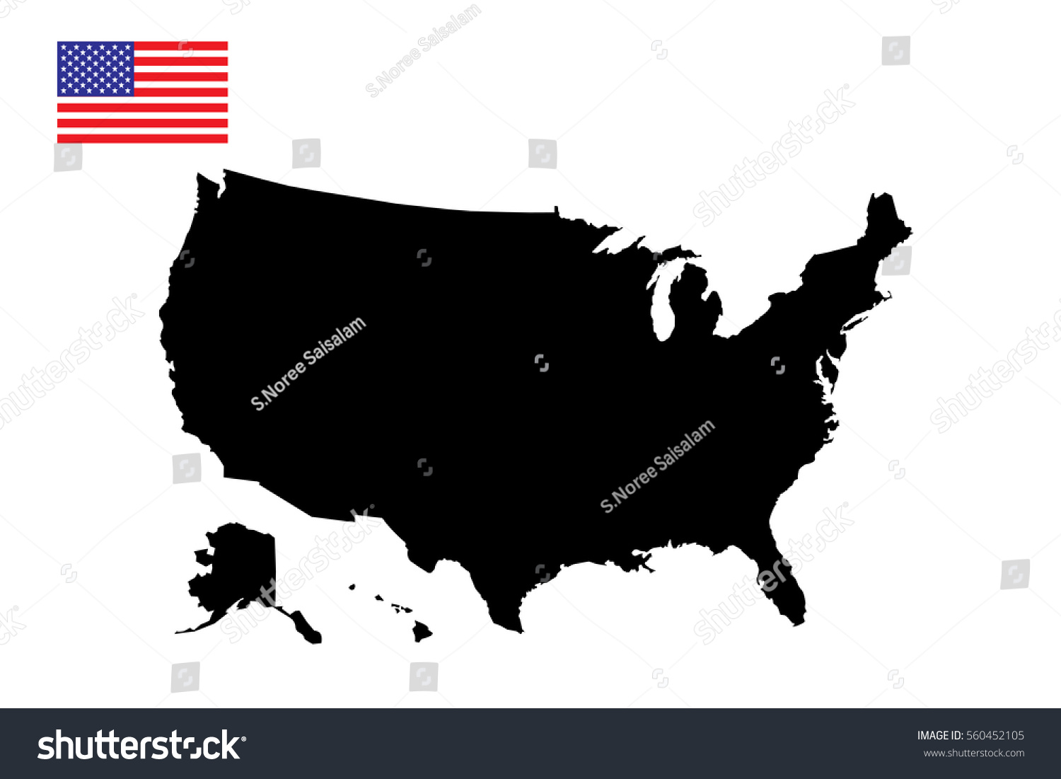United States America Map Flag Vector Stock Vector - Us map with glag