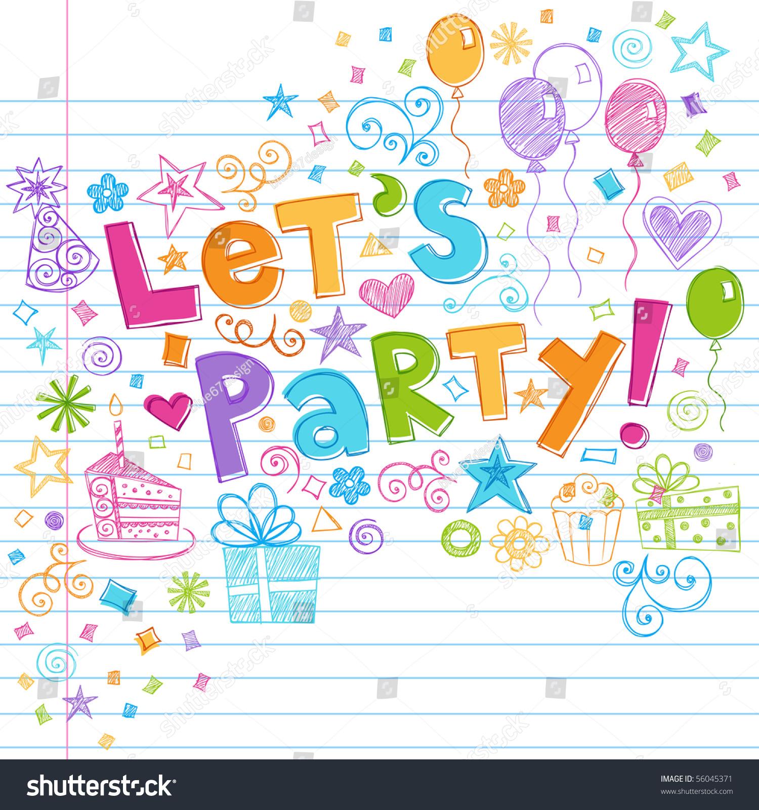 Handdrawn Sketchy Lets Party Birthday Celebration Stock