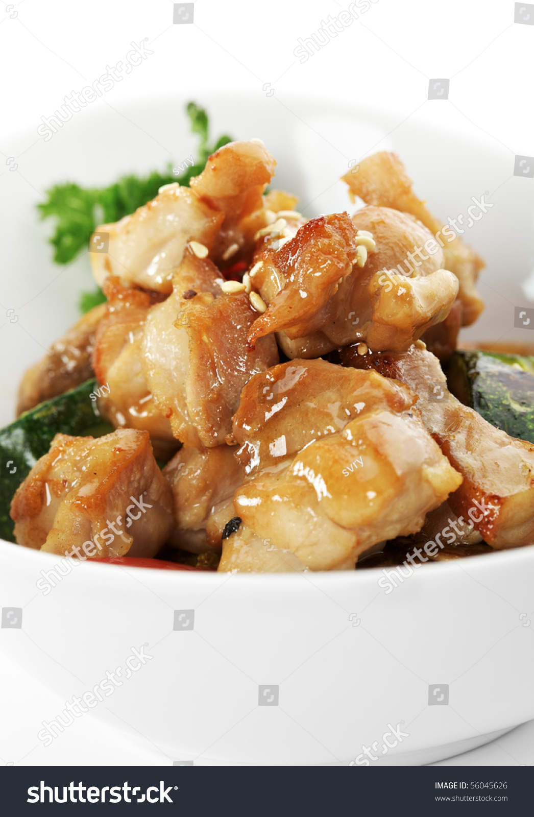 Chicken With Cabbage, Mushrooms And Paprika Stock Photo 56045626 ...