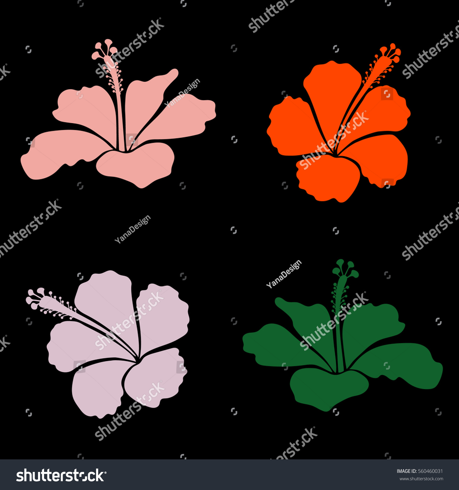 Vector illustration vector collection hawaiian aloha stock vector vector collection of hawaiian aloha shirt hibiscus flowers in orange and pink colors izmirmasajfo Gallery
