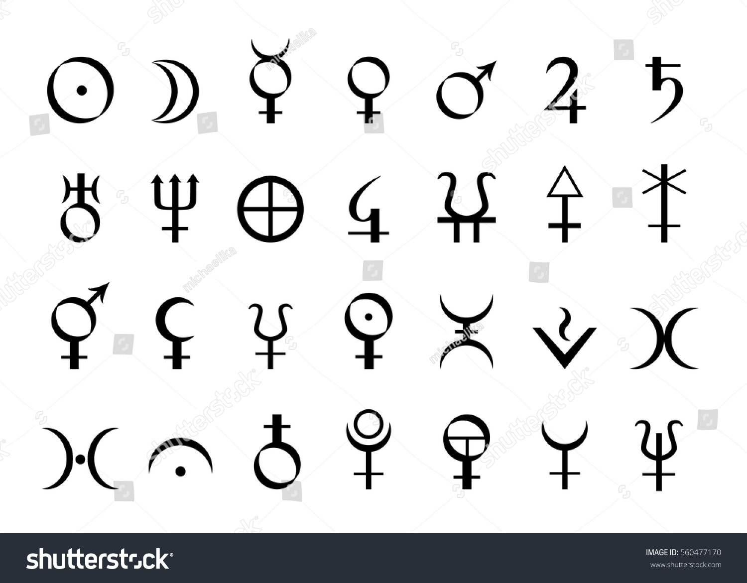 Set Icons Astrological Symbols Planets Vector Stock Vector Royalty