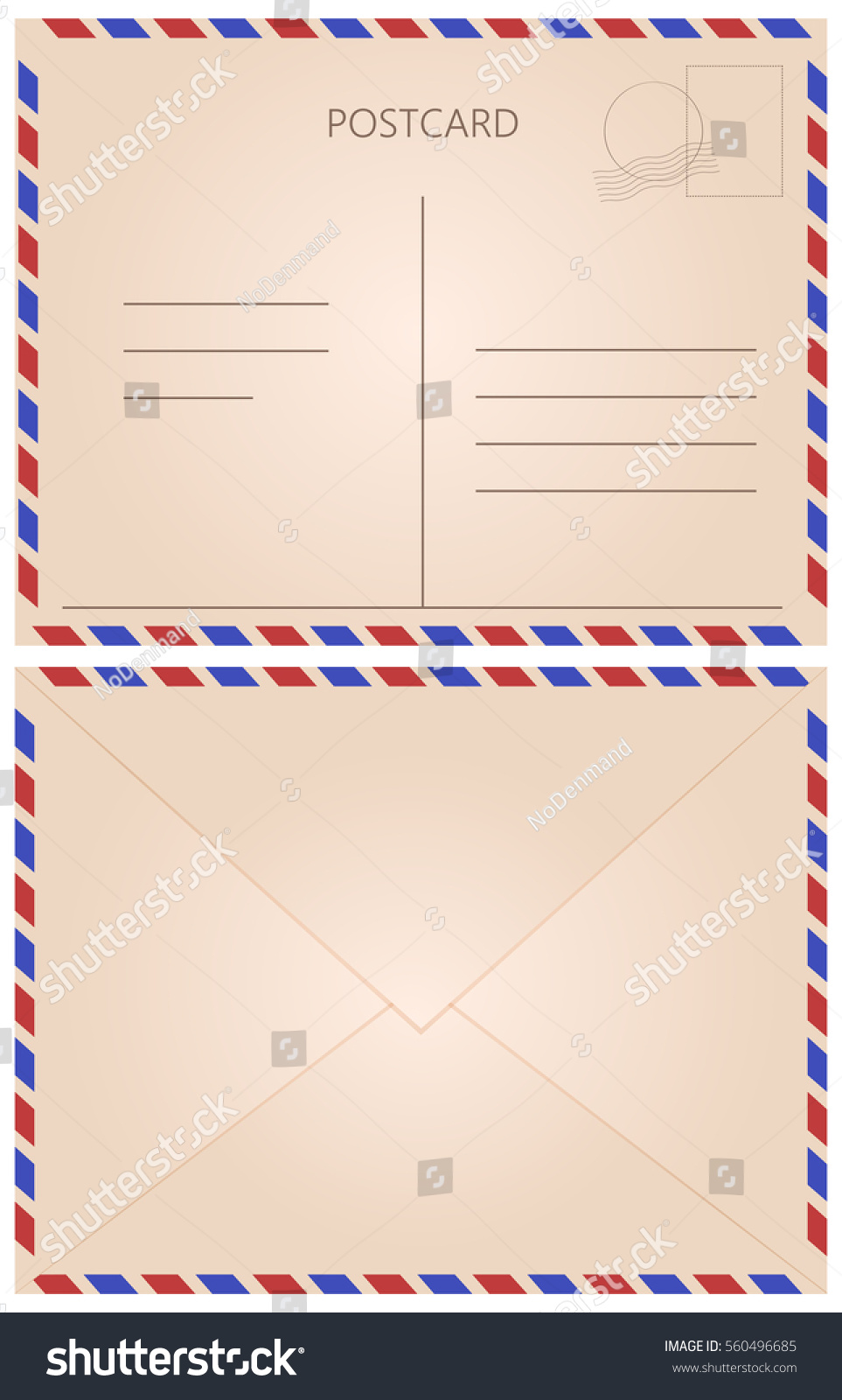 front back letter postcard fields vintage stock vector royalty free