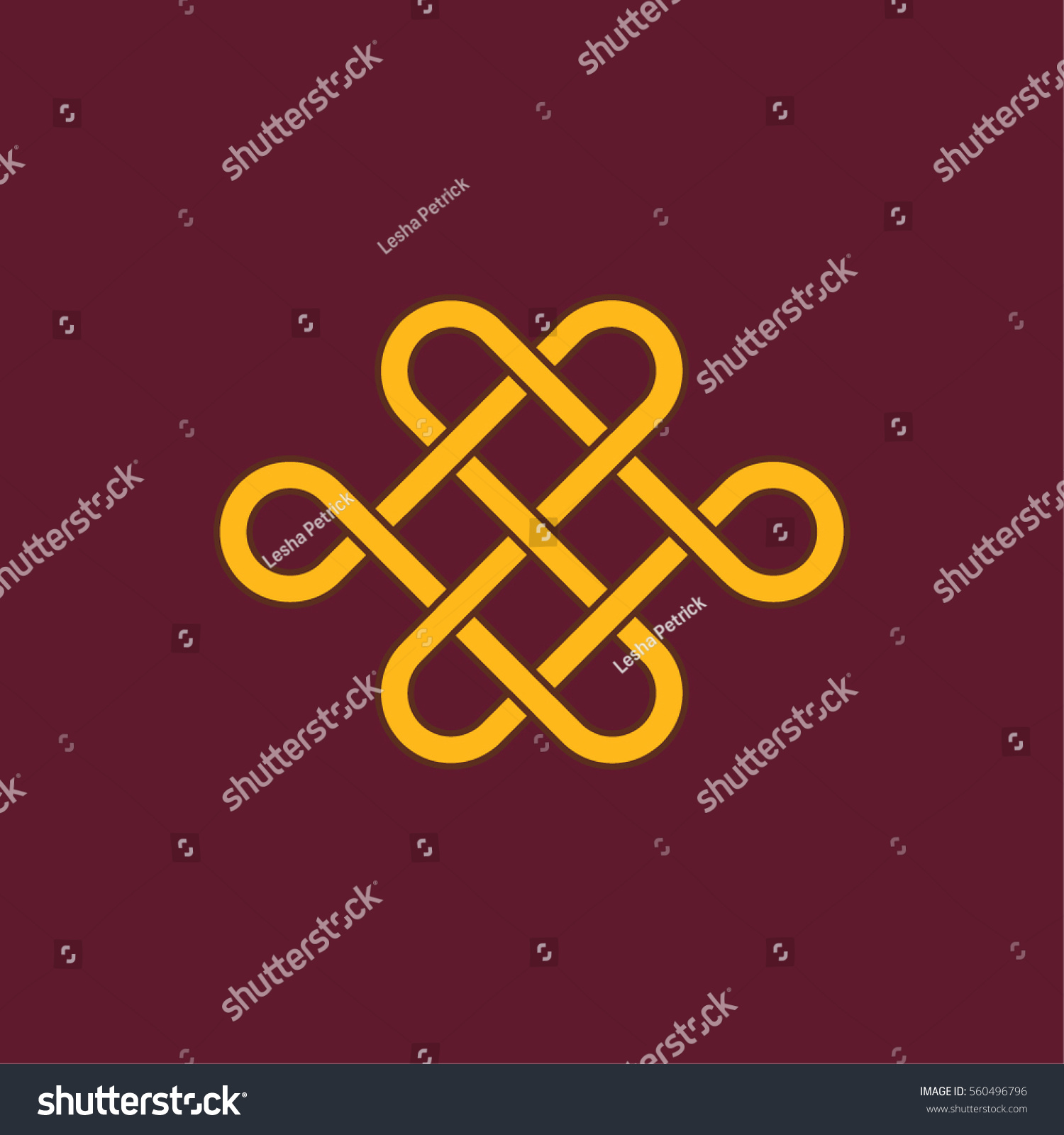Chinese Mystic Knot Minimalistic Flat Line Stock Vector Royalty