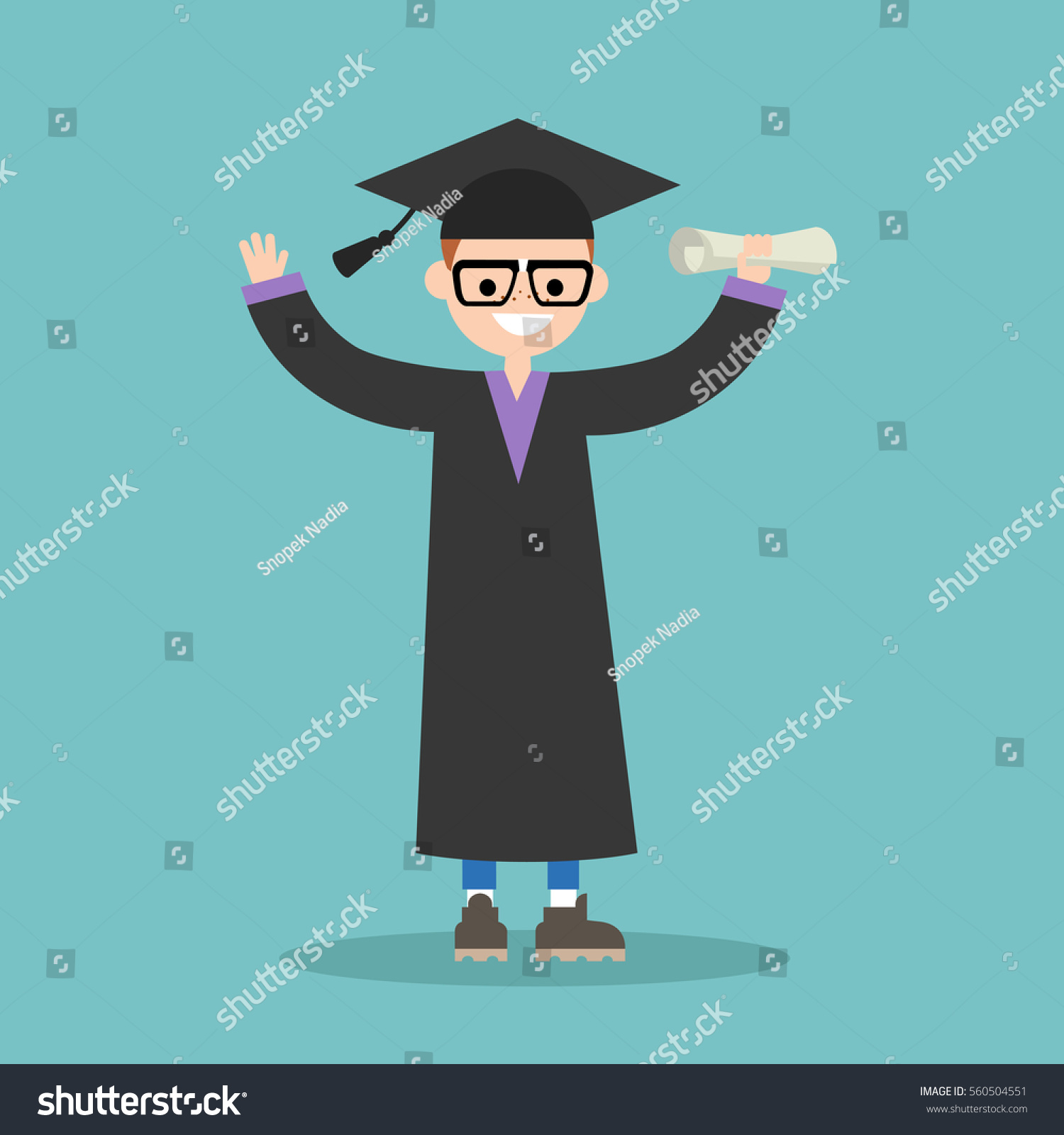 Graduated Student Wearing Cap Gown Flat Stock Vector (Royalty Free ...