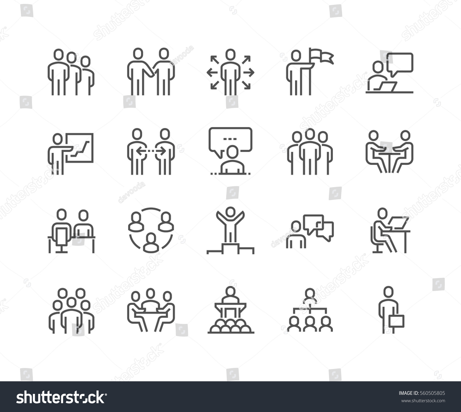 Simple Set of Business People Related Vector Line Icons.  Contains such Icons as One-on-One Meeting, Workplace, Business Communication, Team Structure and more. Editable Stroke. 48x48 Pixel Perfect. #560505805