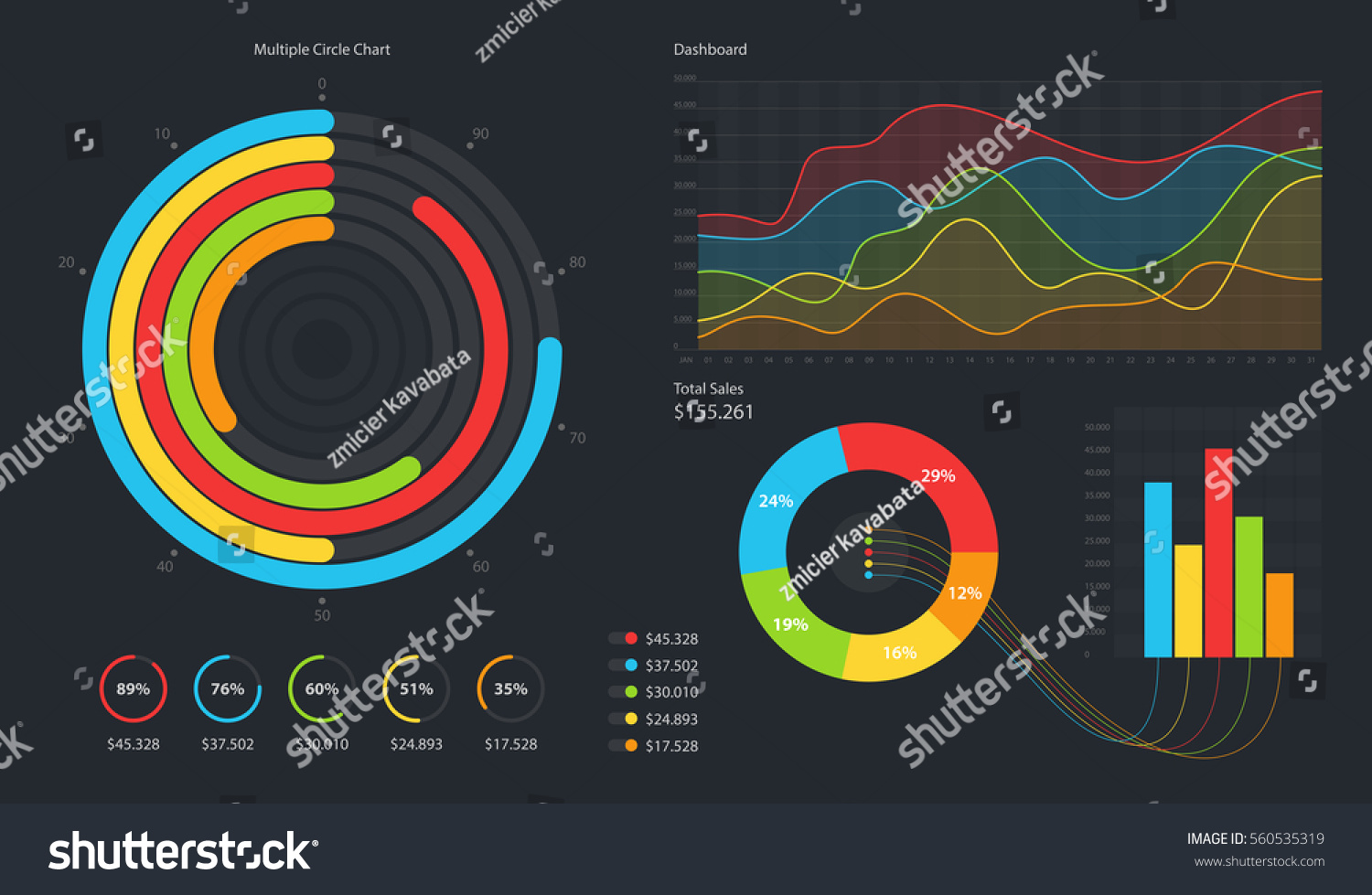 Minimalistic Infographic Template Flat Design Daily Stock Vector ...