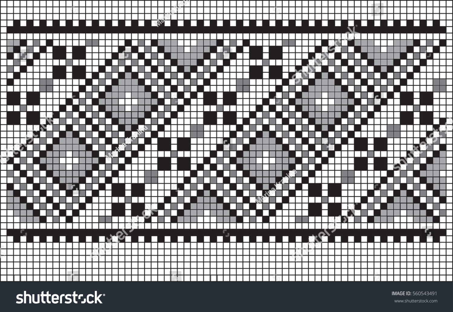 Geometric Patterns Embroidery Crochet Drawing On Stock Vector