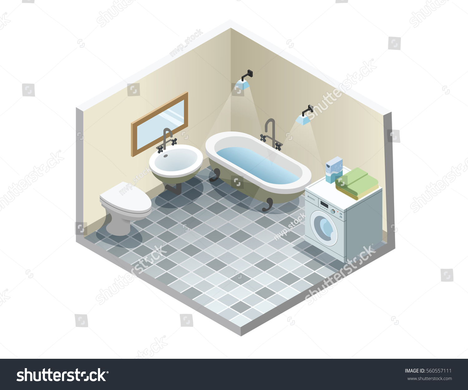 Vector Isometric Bathroom Set Retro Vintage Stock Vector (Royalty ...