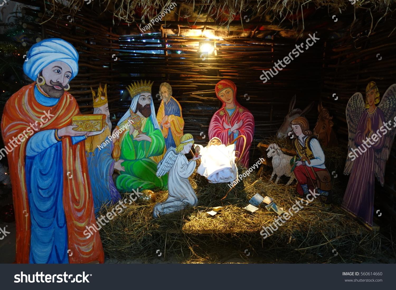 christmas manger scene with figurines including jesus mary joseph lamb baby birth