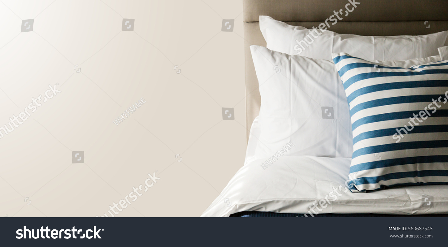Bed maidup clean white pillows bed stock photo 560687548 shutterstock - Wash white sheets keep fresh ...