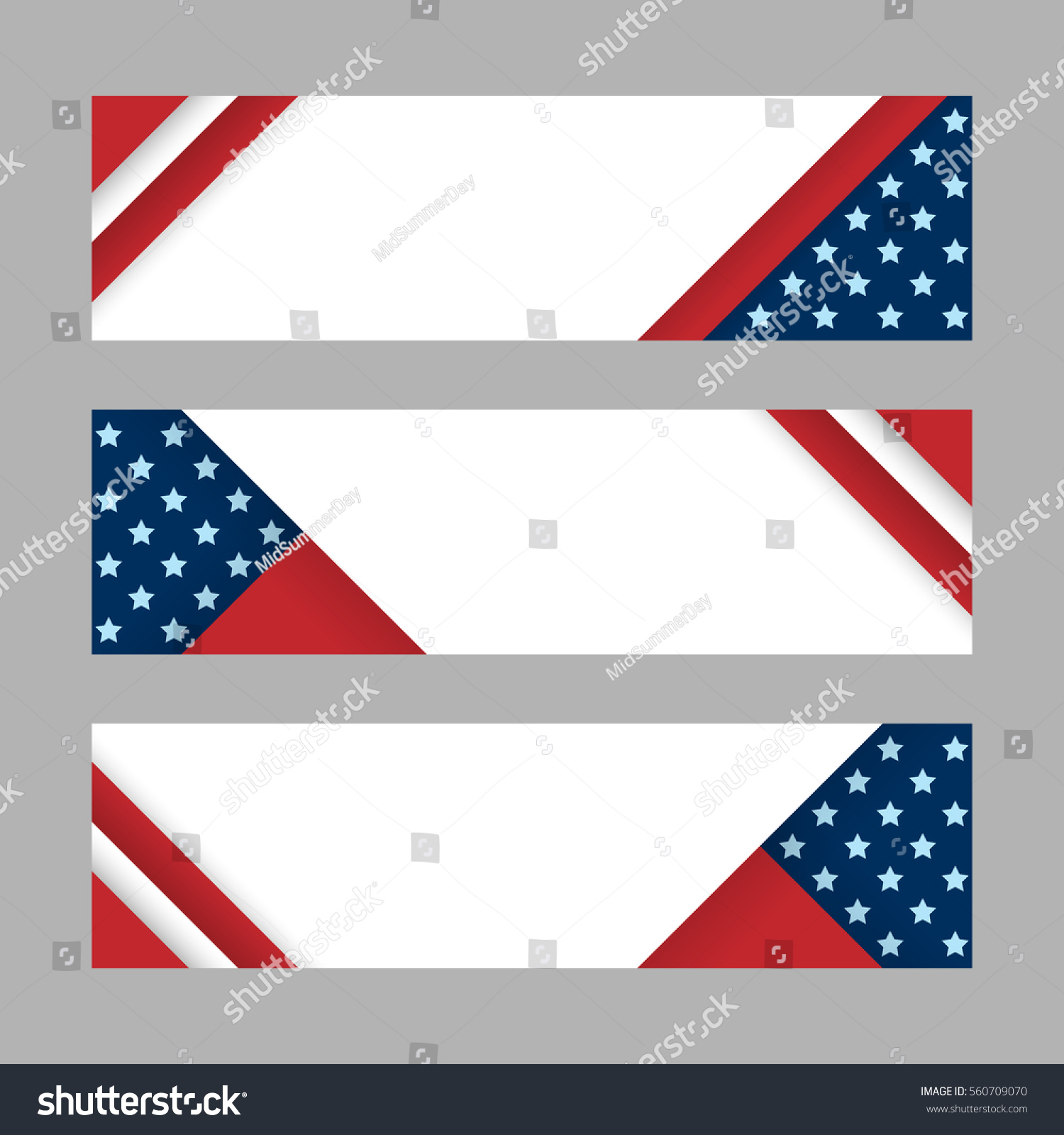 modern vector horizontal banners, page headers with stripes and stars ...