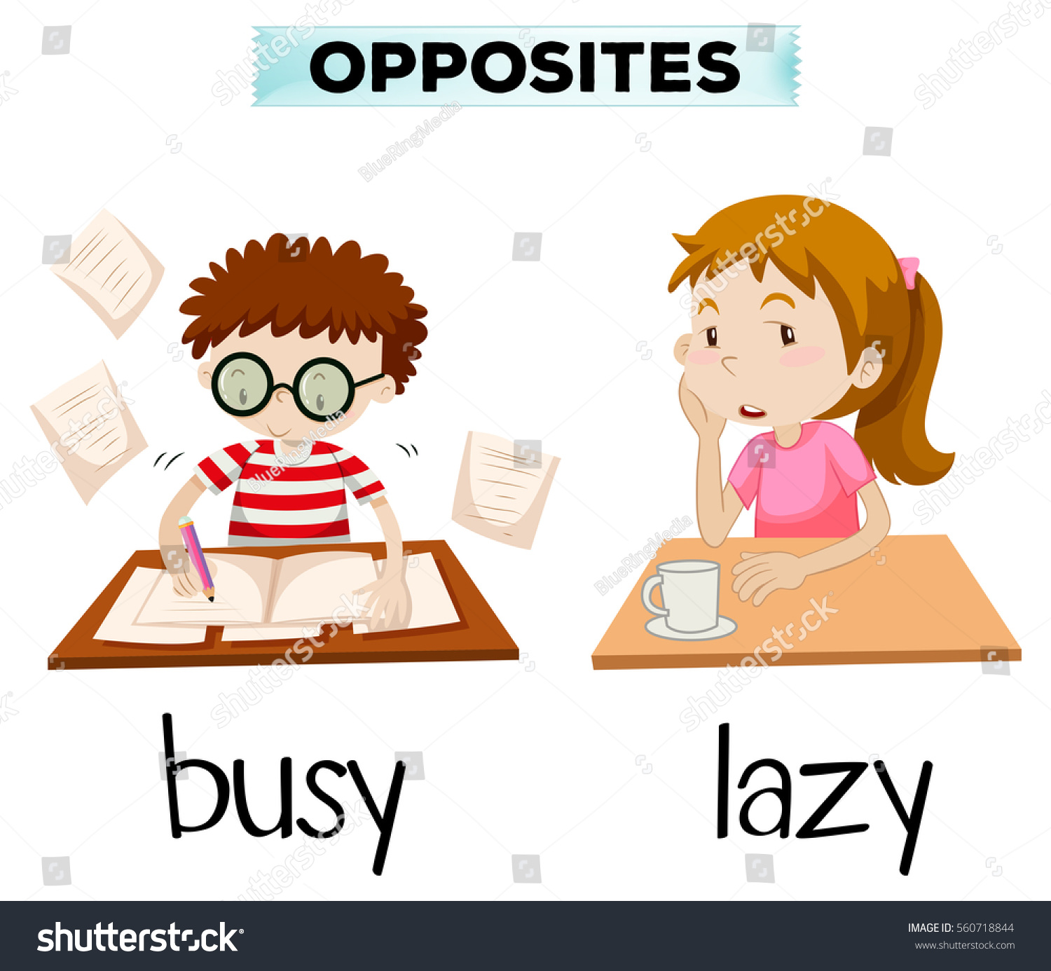 Opposite Words Busy Lazy Illustration Stock-vrgrafik 560718844 ...