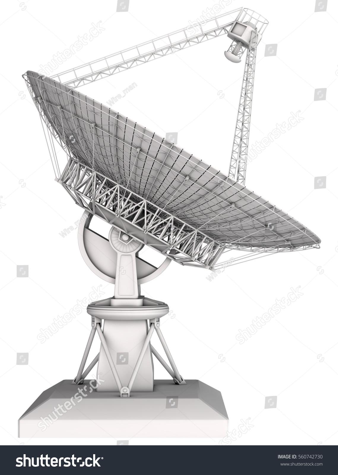 Radio telescope 3d image. Isolated on white
