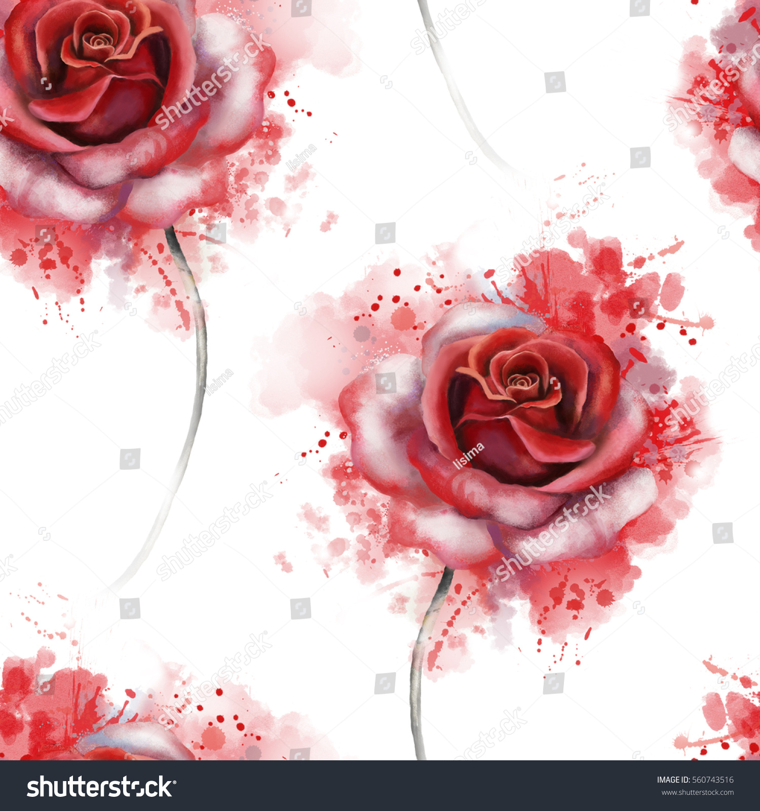 Seamless Pattern With Red Flowers And Leaves On White Background