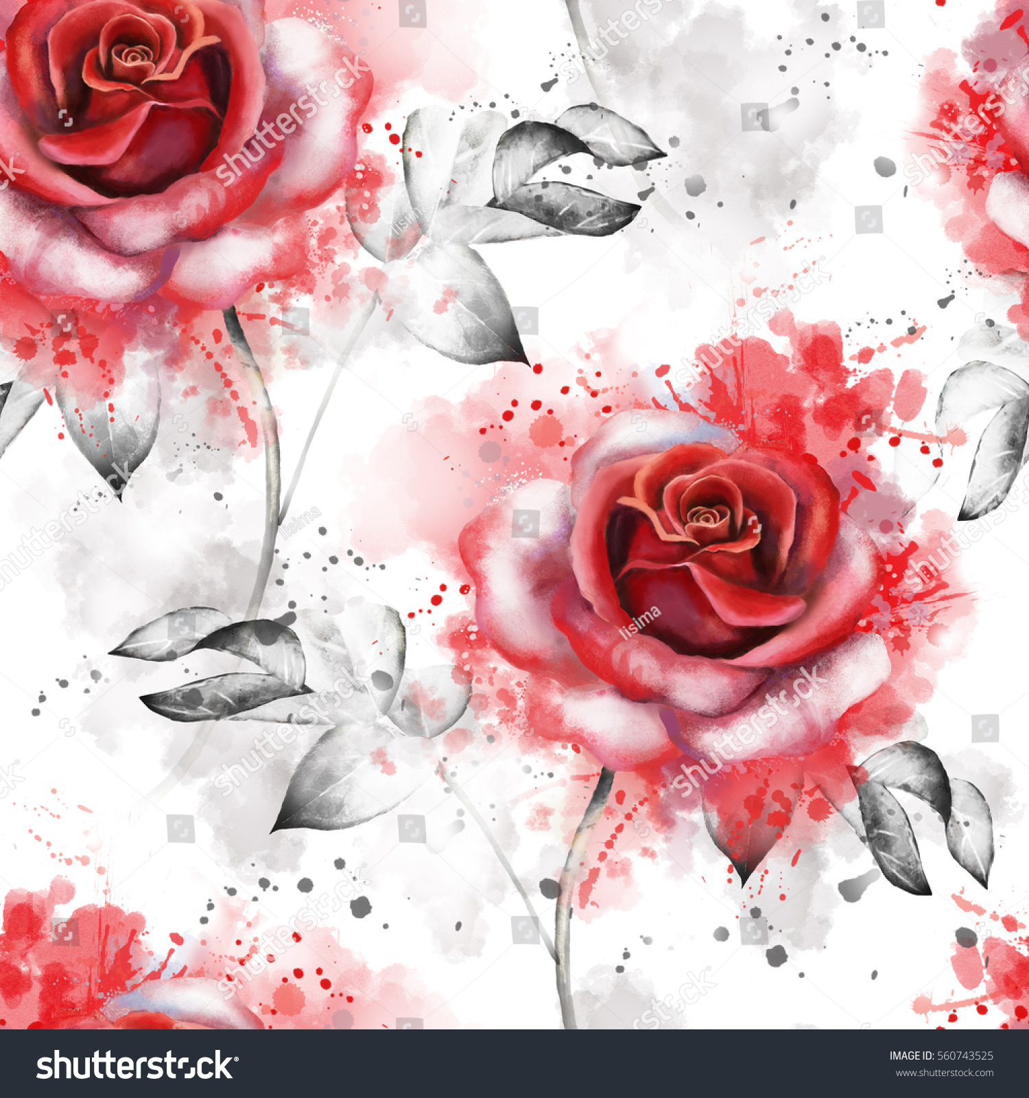 Seamless Pattern Red Flowers Leaves On Stock Illustration 560743525